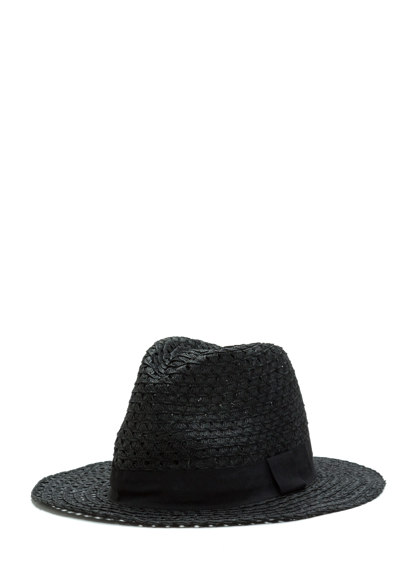Floppy Banded Panama Hat BLACK