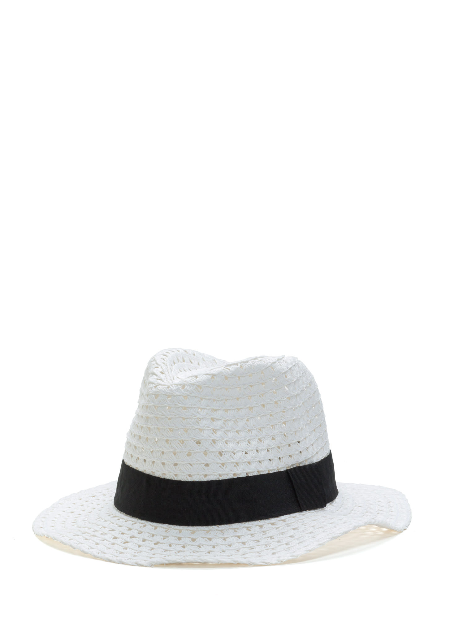 Floppy Banded Panama Hat WHITE