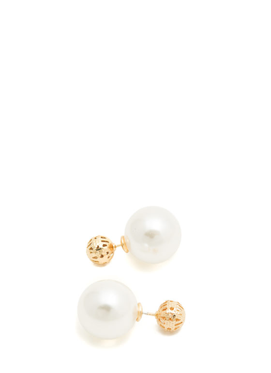 Ball 'N Faux Pearl Backdrop Earrings IVORYGOLD