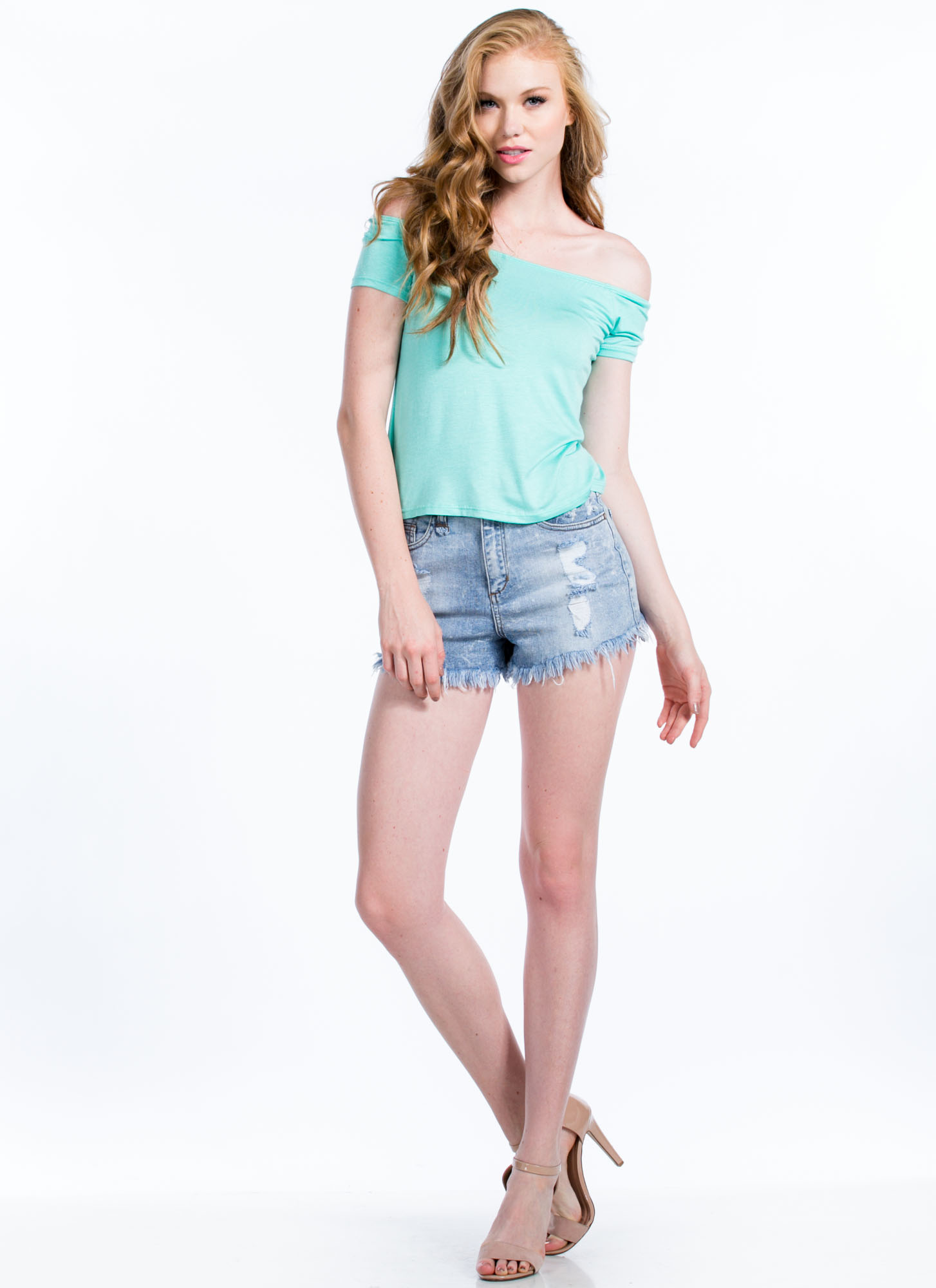 Just Shrug It Off-The-Shoulder Top MINT