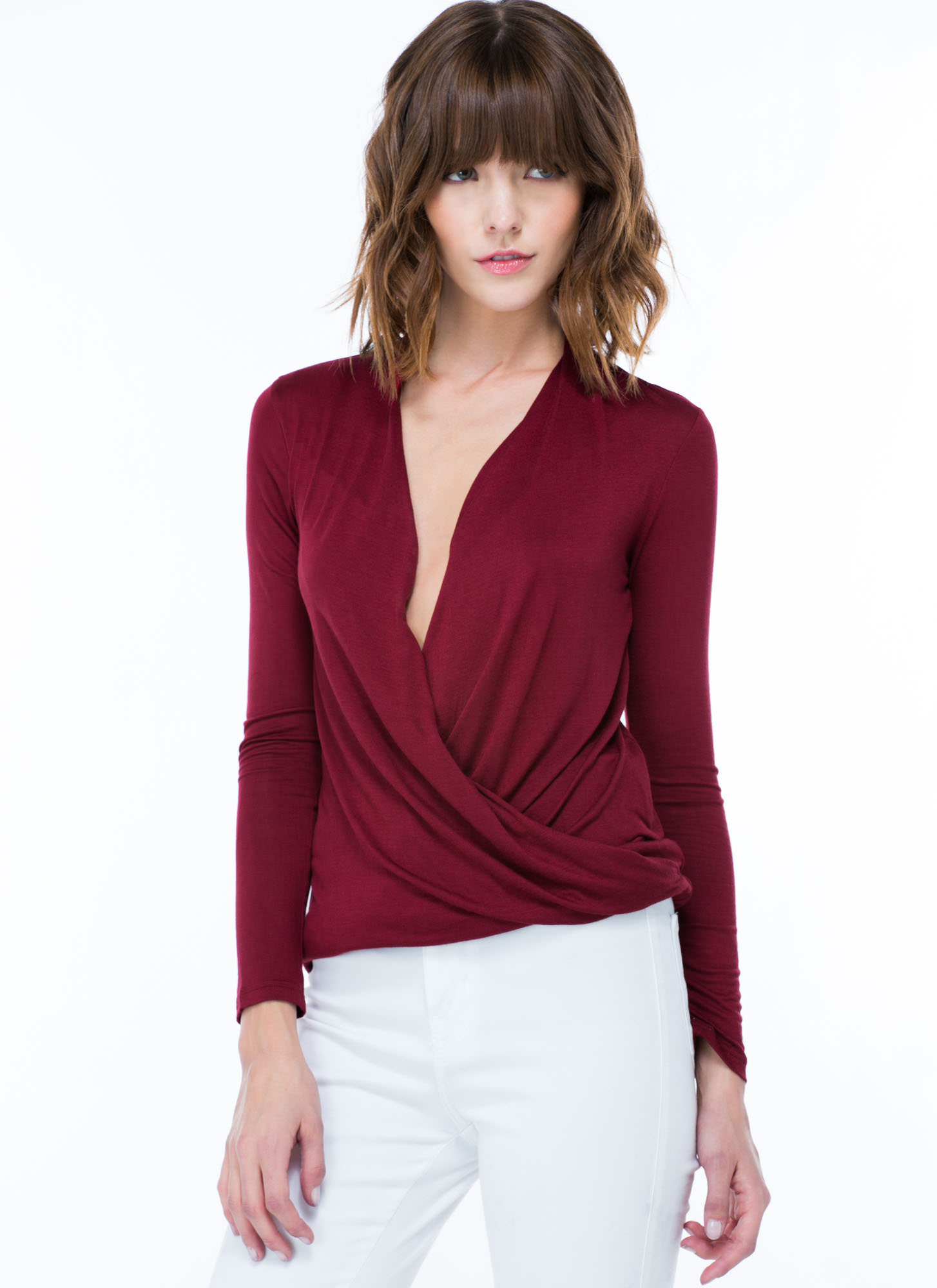 Plunging Twist Front Top BURGUNDY