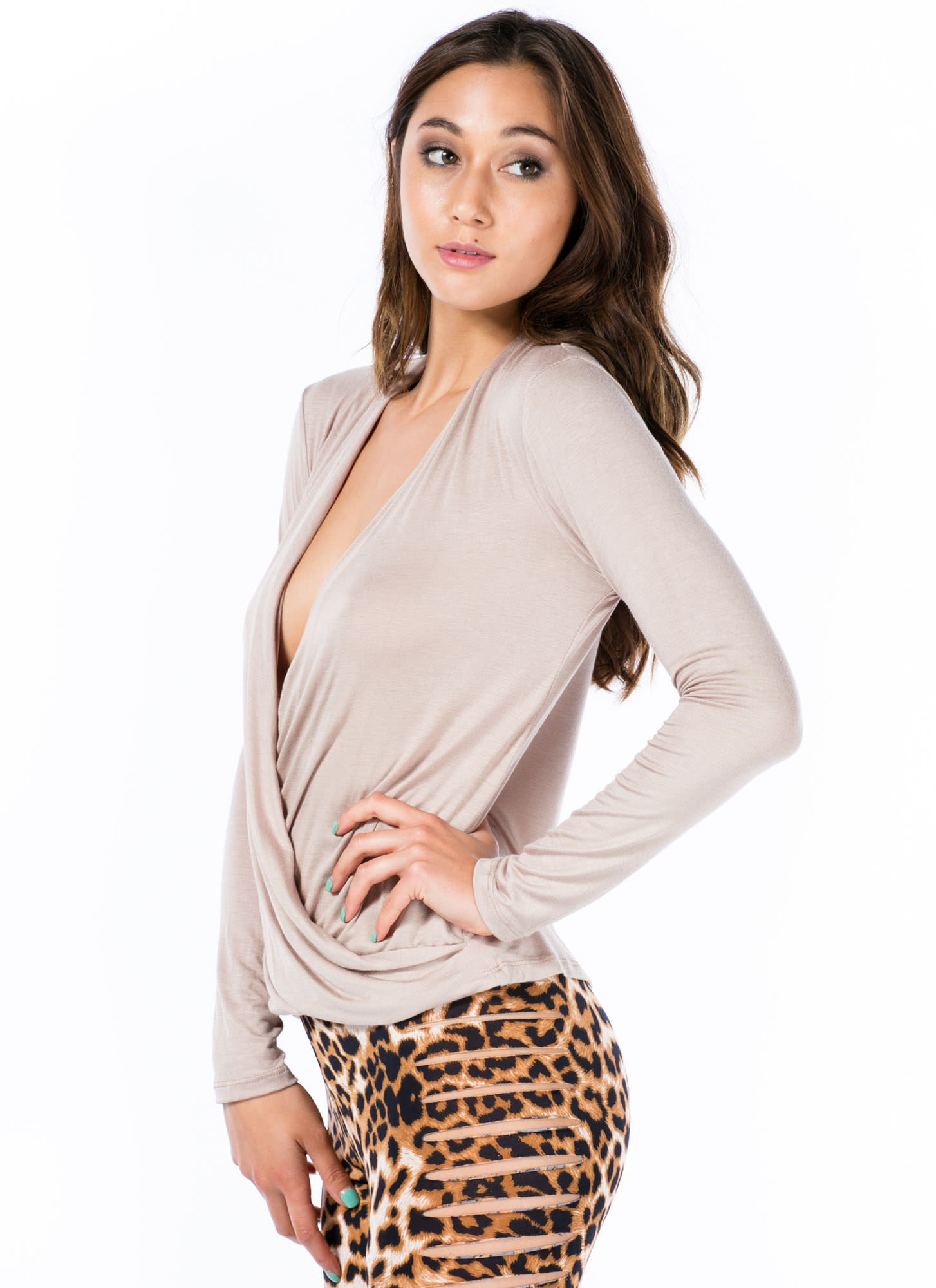 Plunging Twist Front Top KHAKI