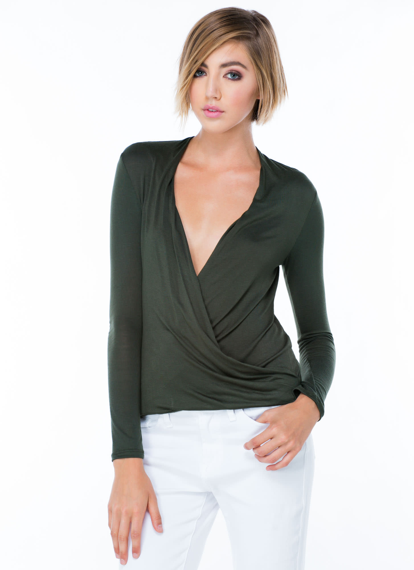 Plunging Twist Front Top OLIVE