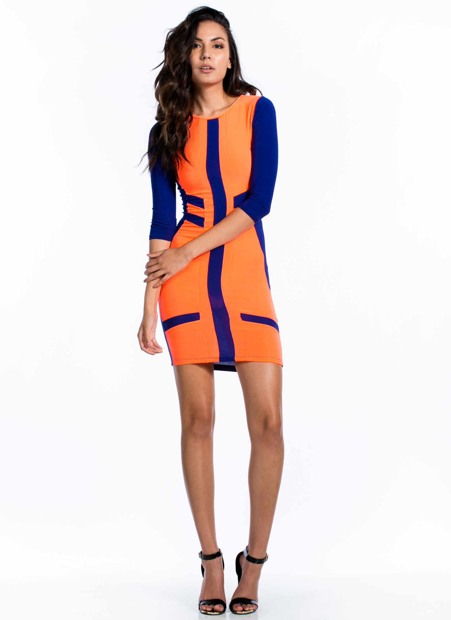 Neon Top Of Your Game Bodycon Dress ROYAL