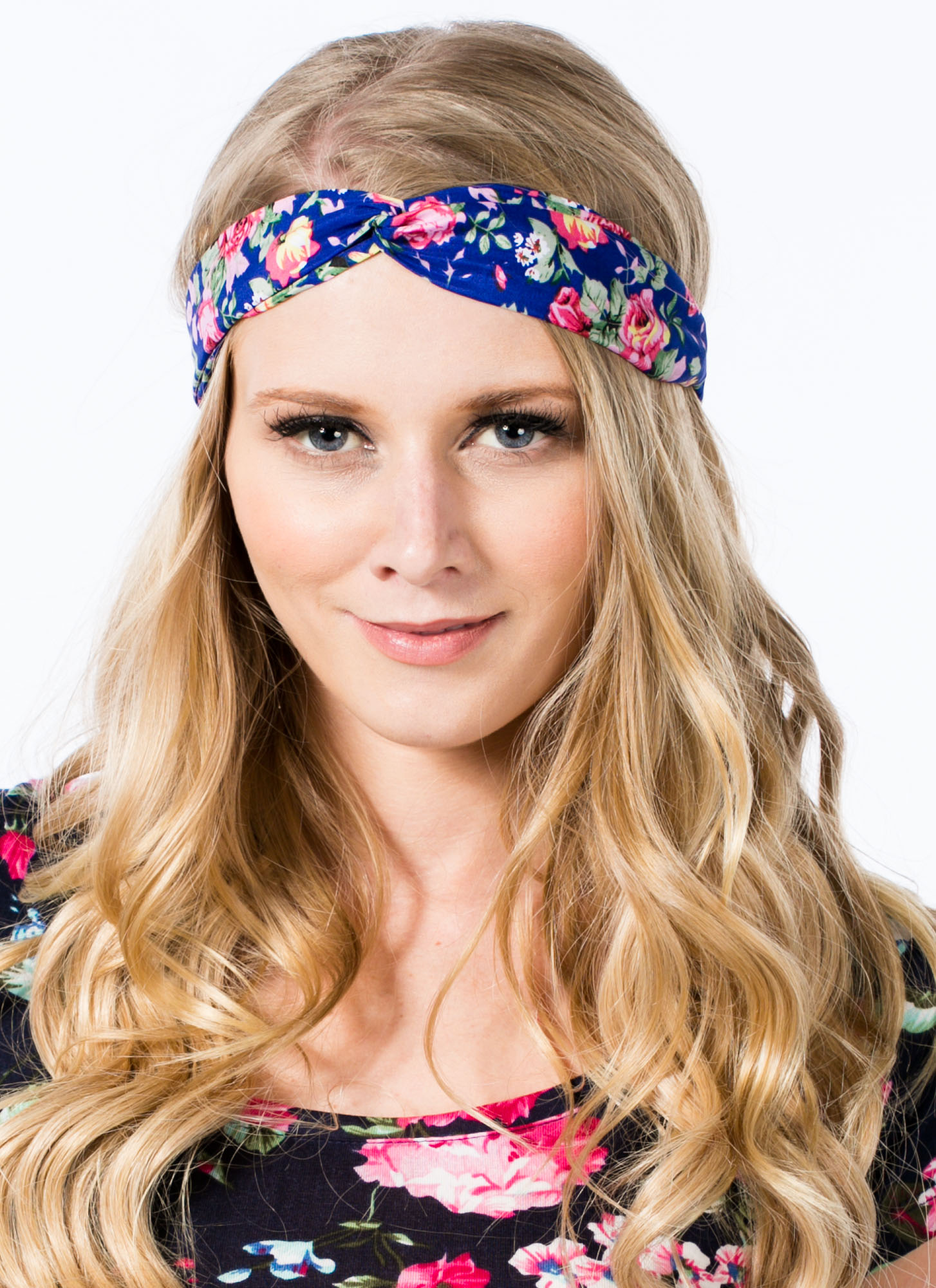 Floral Twisted Headband BLUE