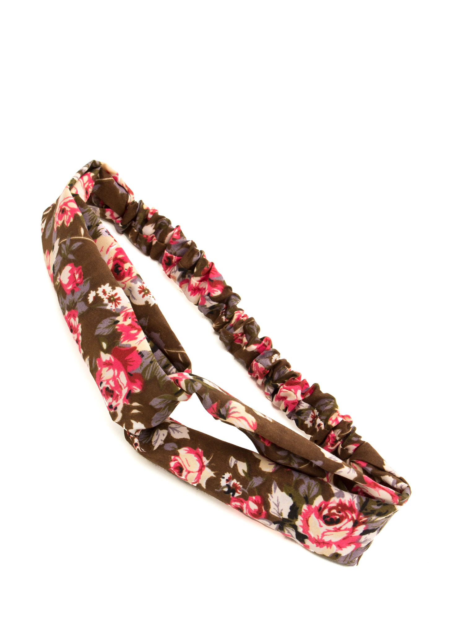 Floral Twisted Headband BROWN