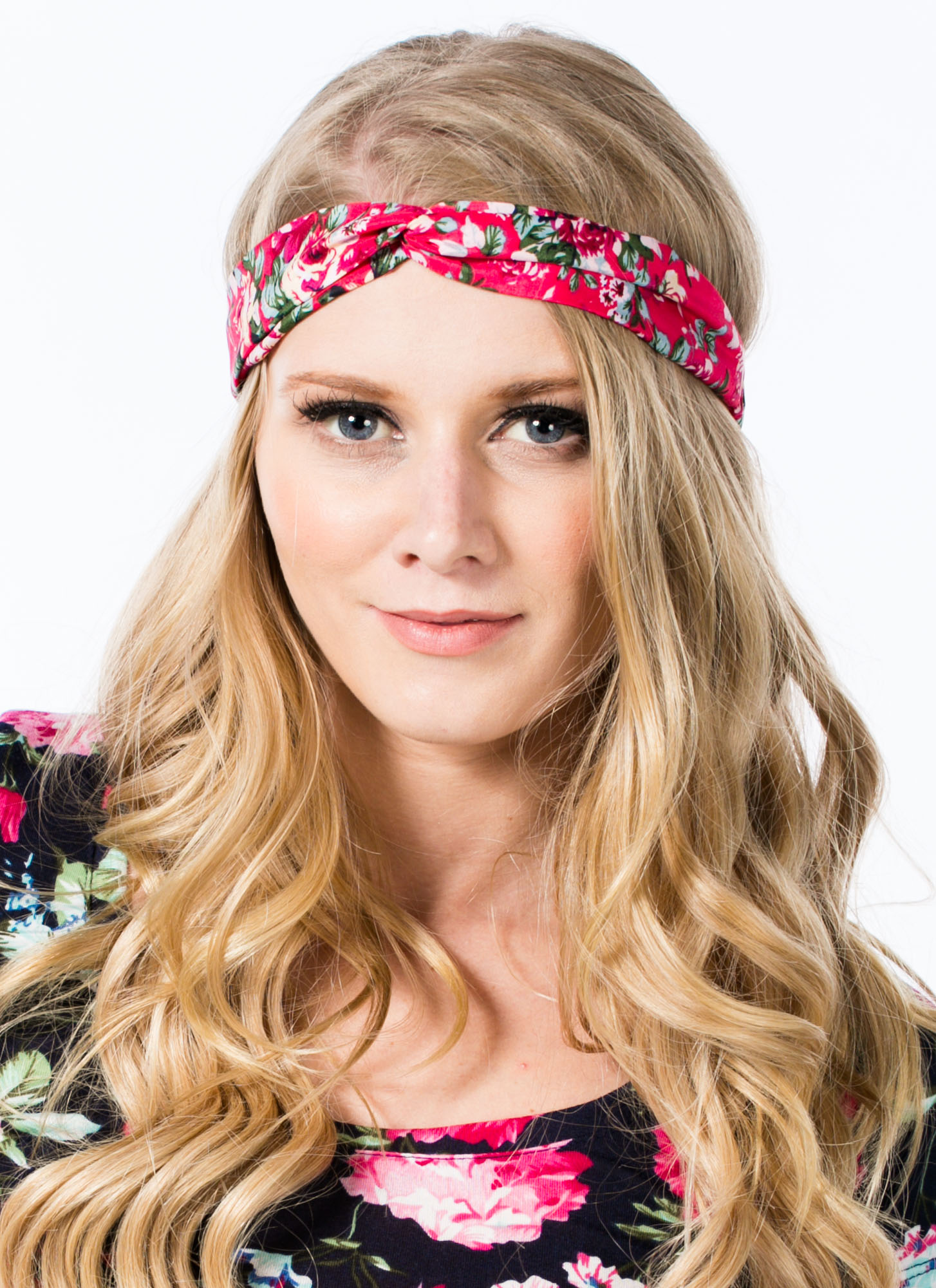 Floral Twisted Headband FUCHSIA