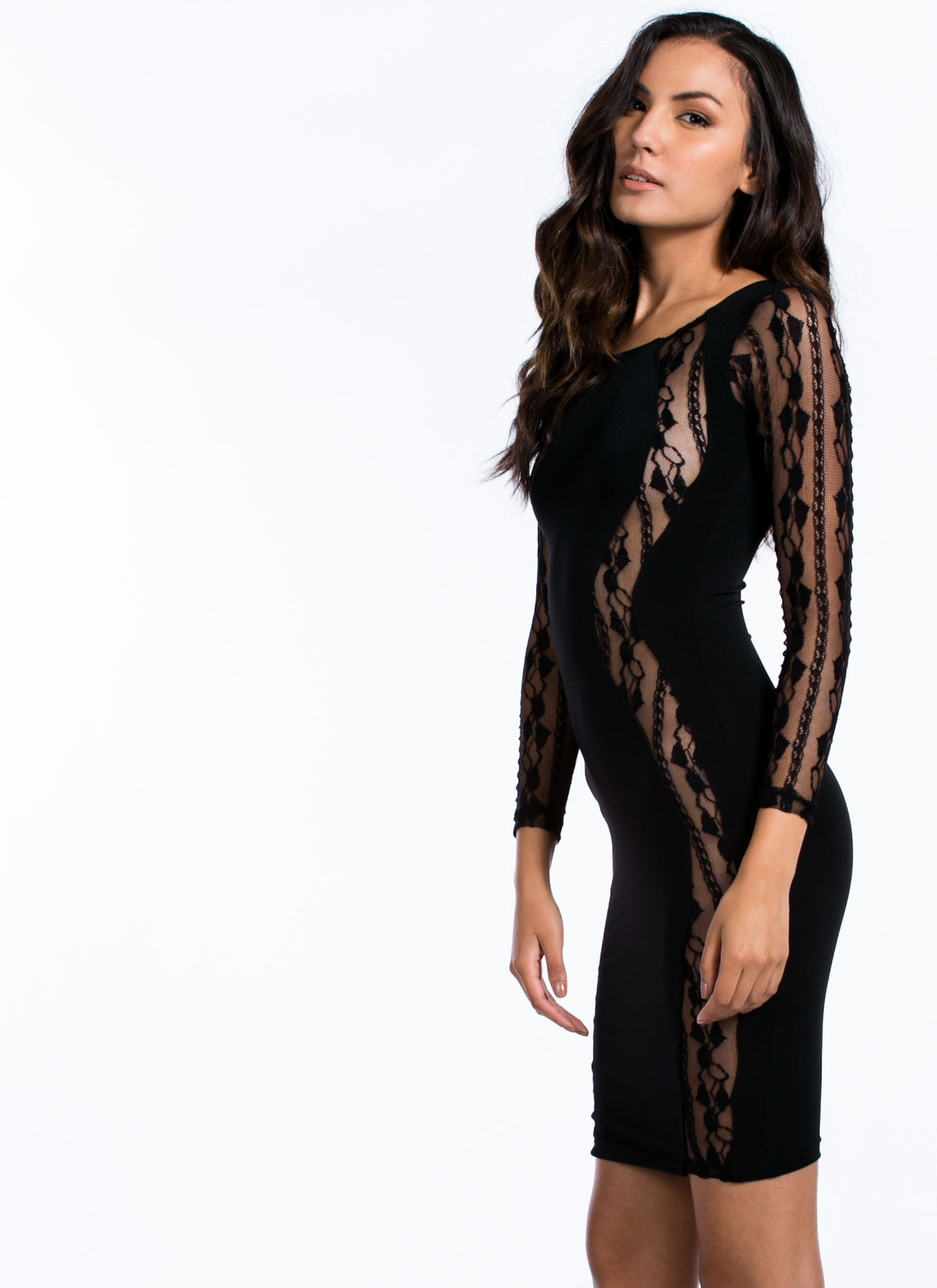 Lace To Lace Contrast Bodycon Dress BLACK
