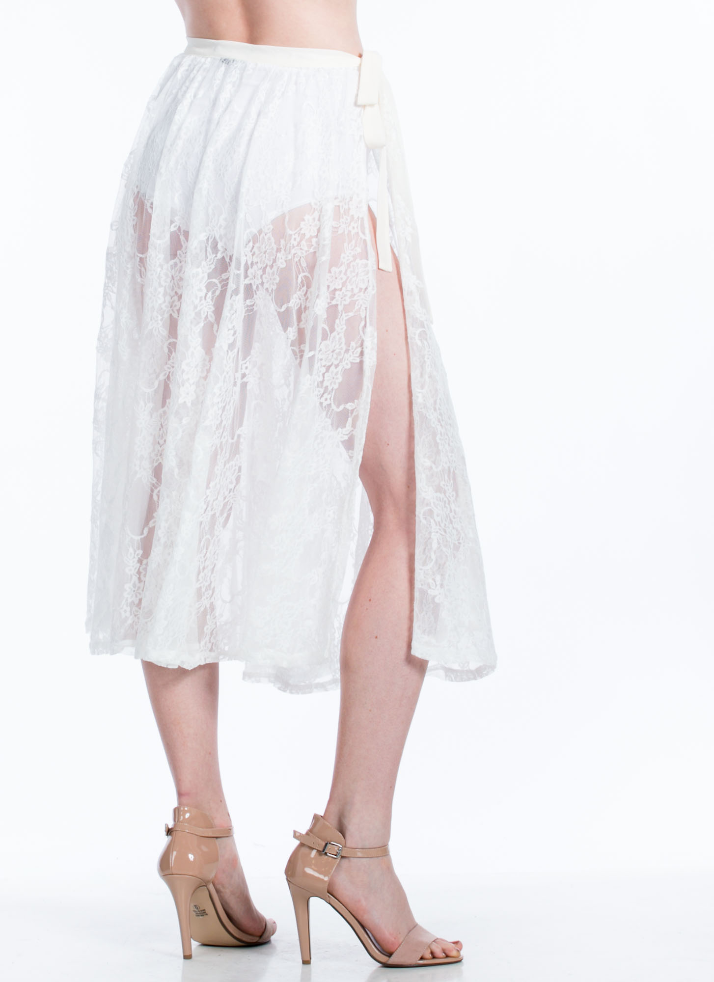 Sheer Lace Midi Skirt IVORY (Final Sale)