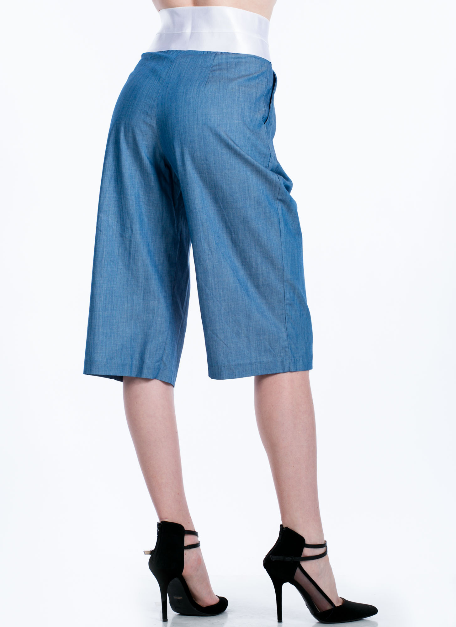 Chambray Culotte Pants BLUE