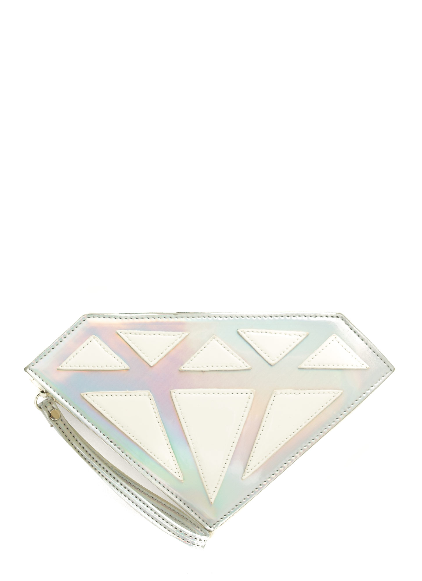 Holographic Diamond Clutch SILVERWHT