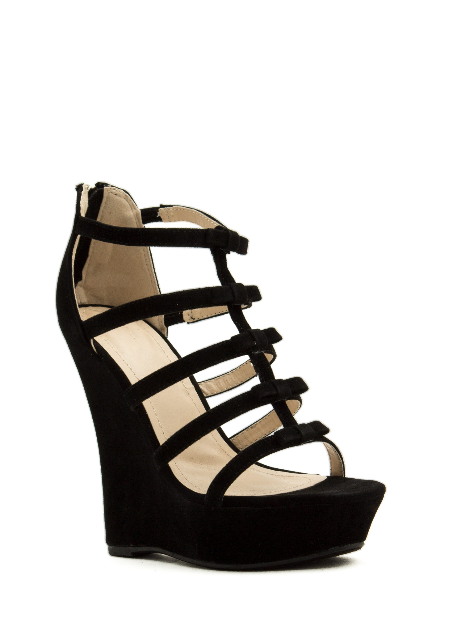 Laddered Bows Platform Wedges BLACK