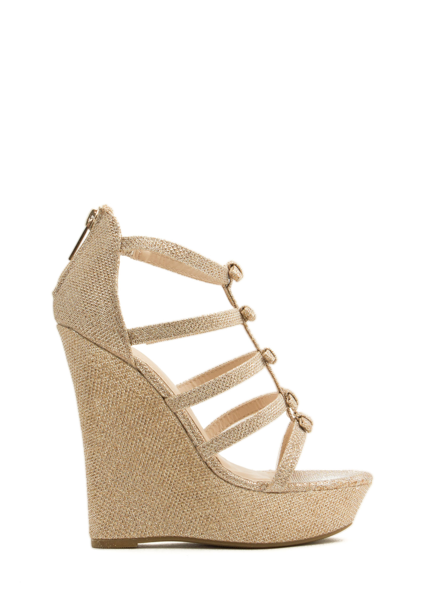 Laddered Bows Platform Wedges ROSEGOLD