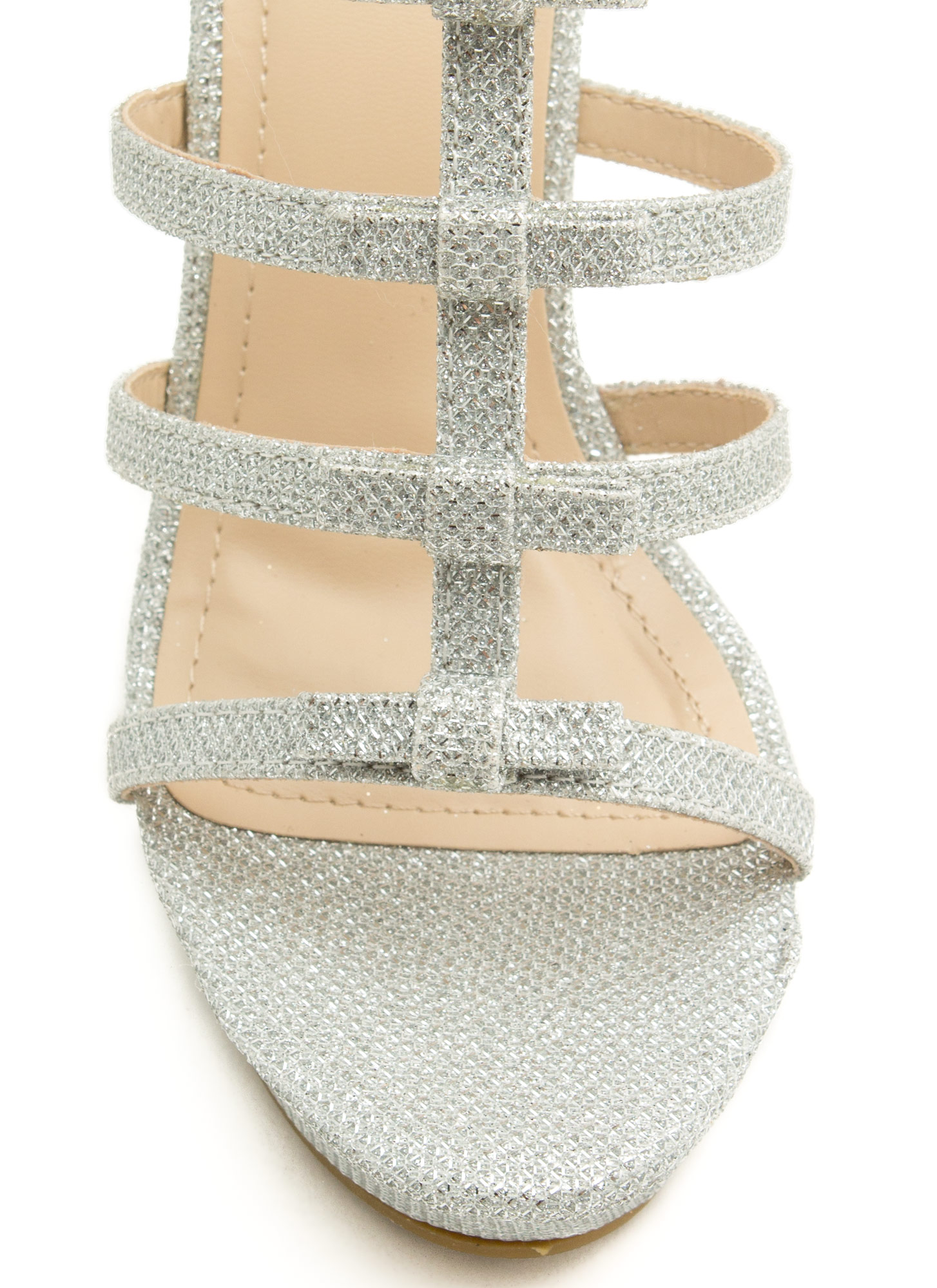 Laddered Bows Platform Wedges SILVER
