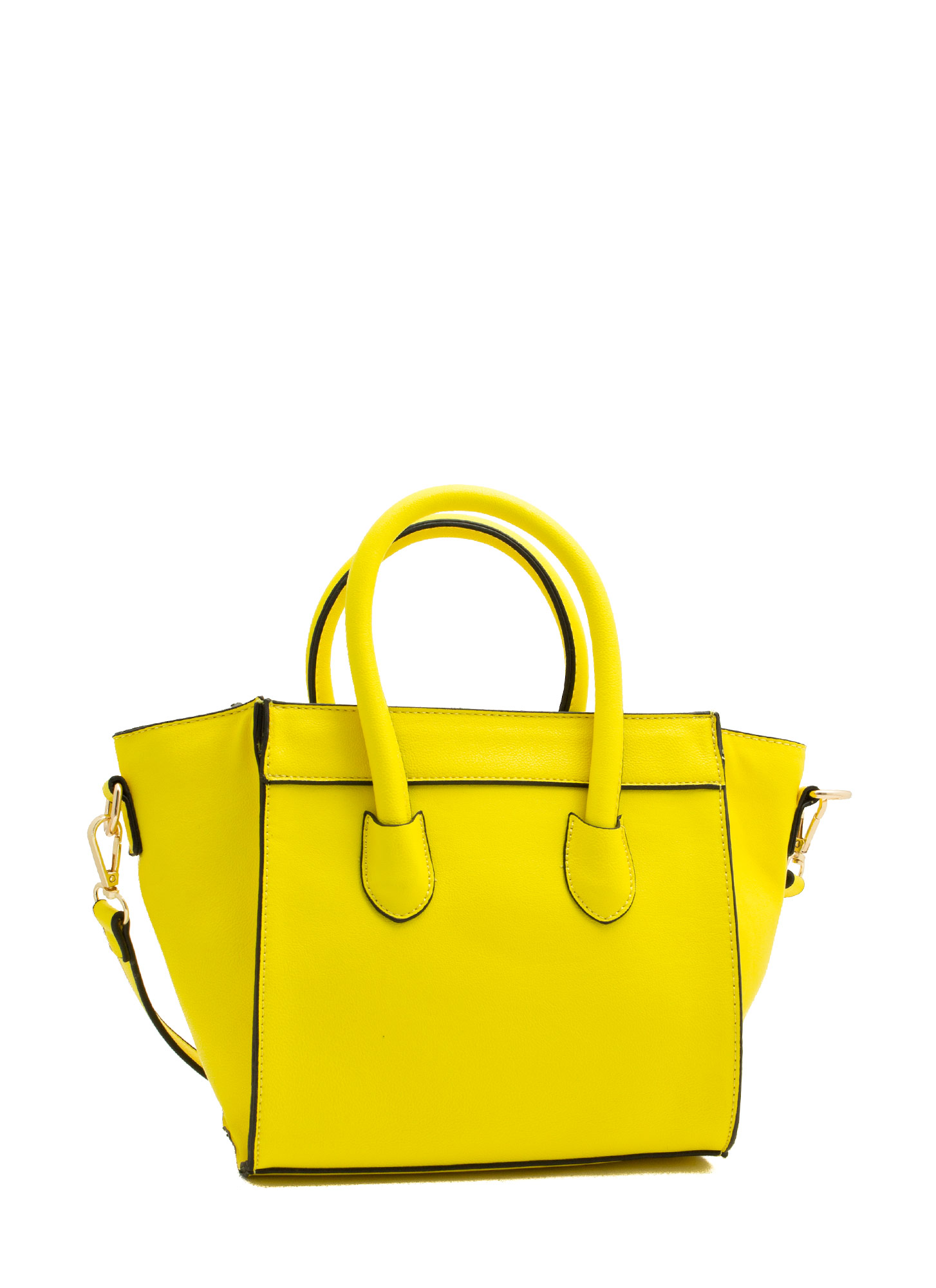Faux Leather Flared Mini Bag NEONYELLOW