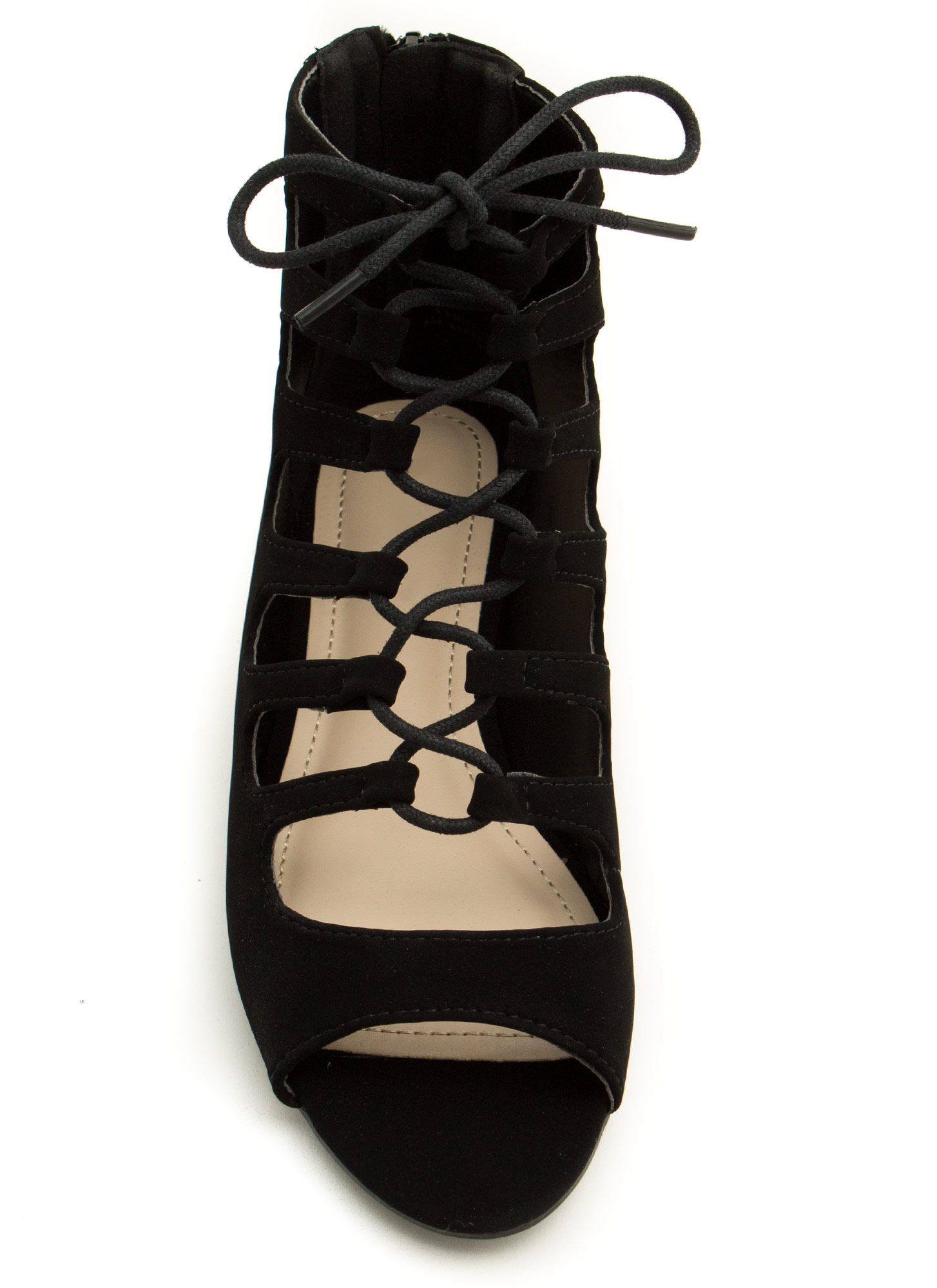 Ankle Biters Laced Cut-Out Sandals BLACK