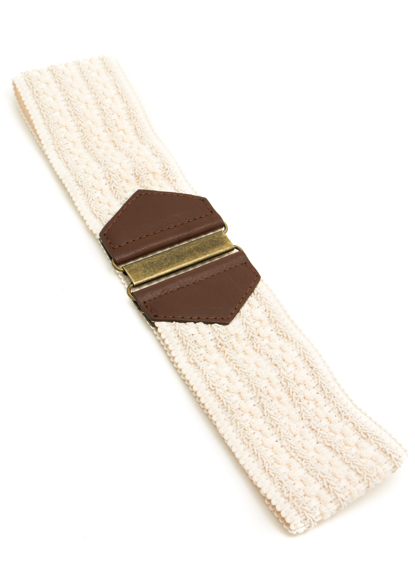 Textured Woven Wide Belt IVORYDKBRN