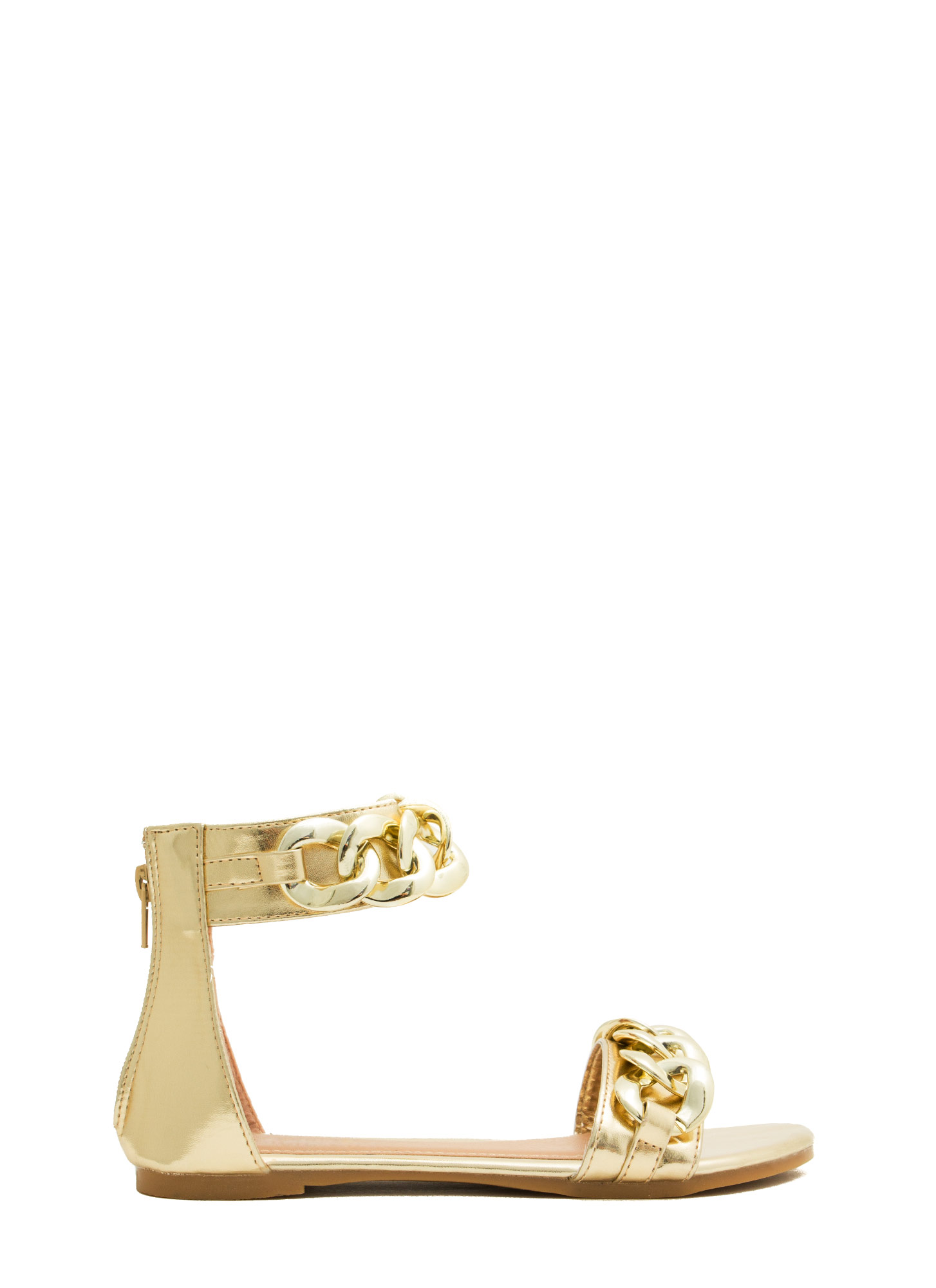 No Weak Links Here Chained Sandals GOLD