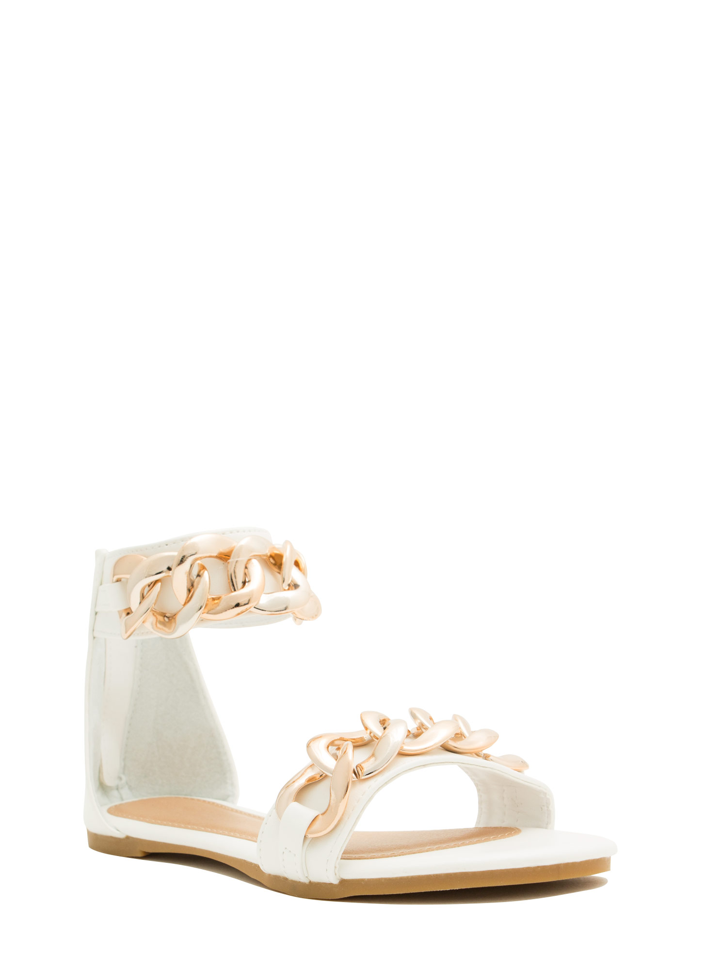 No Weak Links Here Chained Sandals WHITE