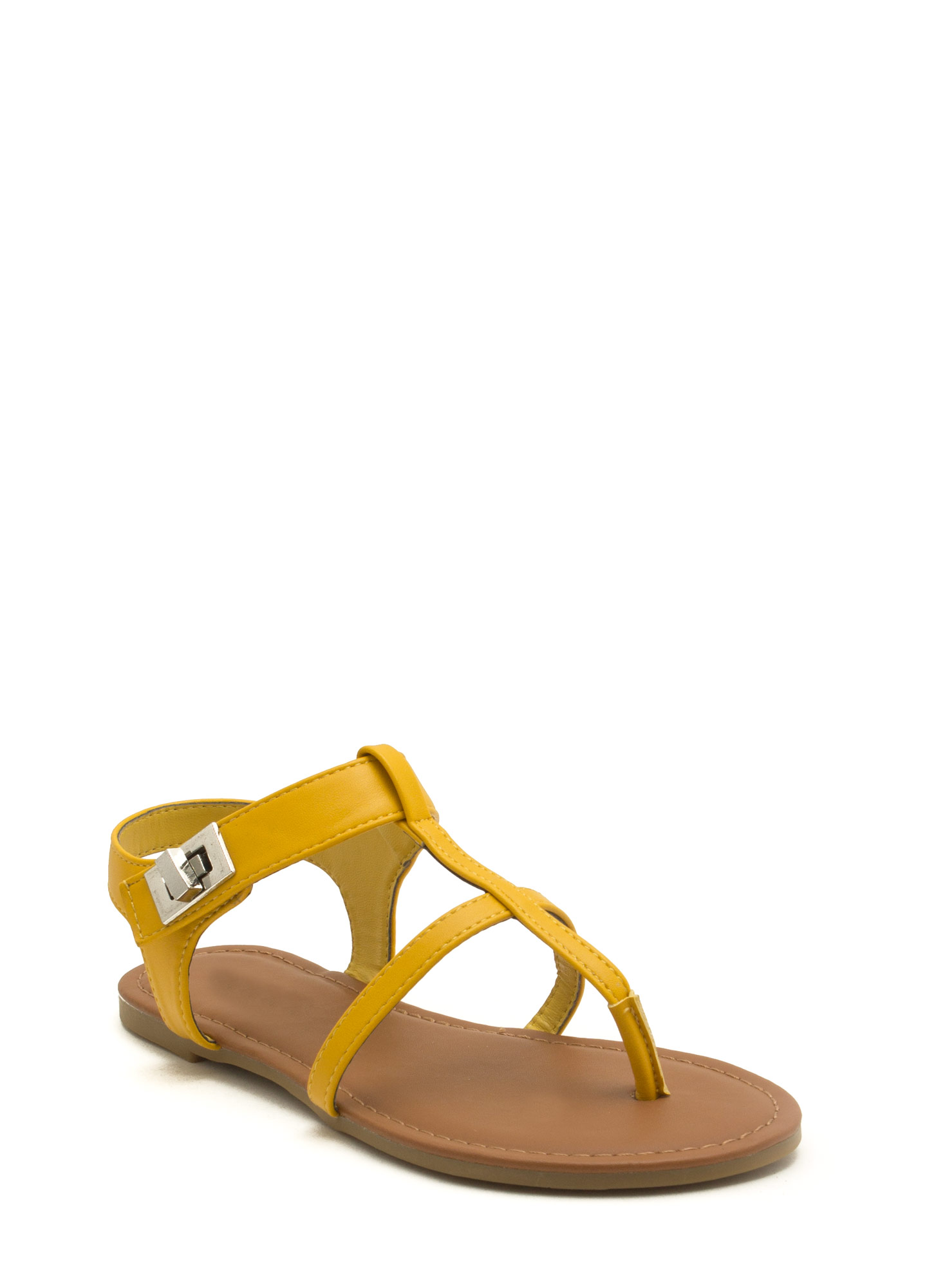 Locked Away Ankle Strap Sandals YELLOW