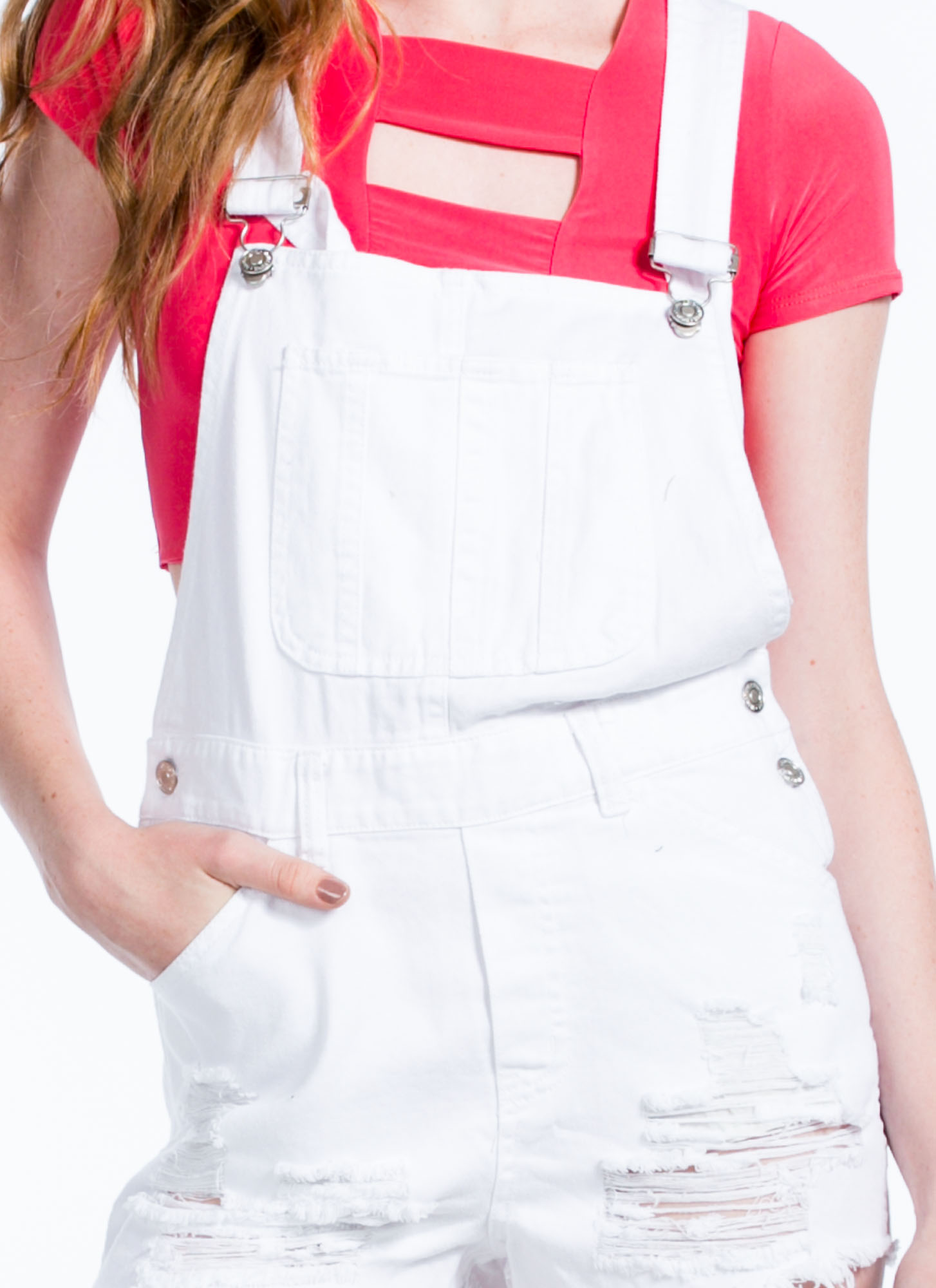 Torn 'N Shredded Denim Shortalls WHITE