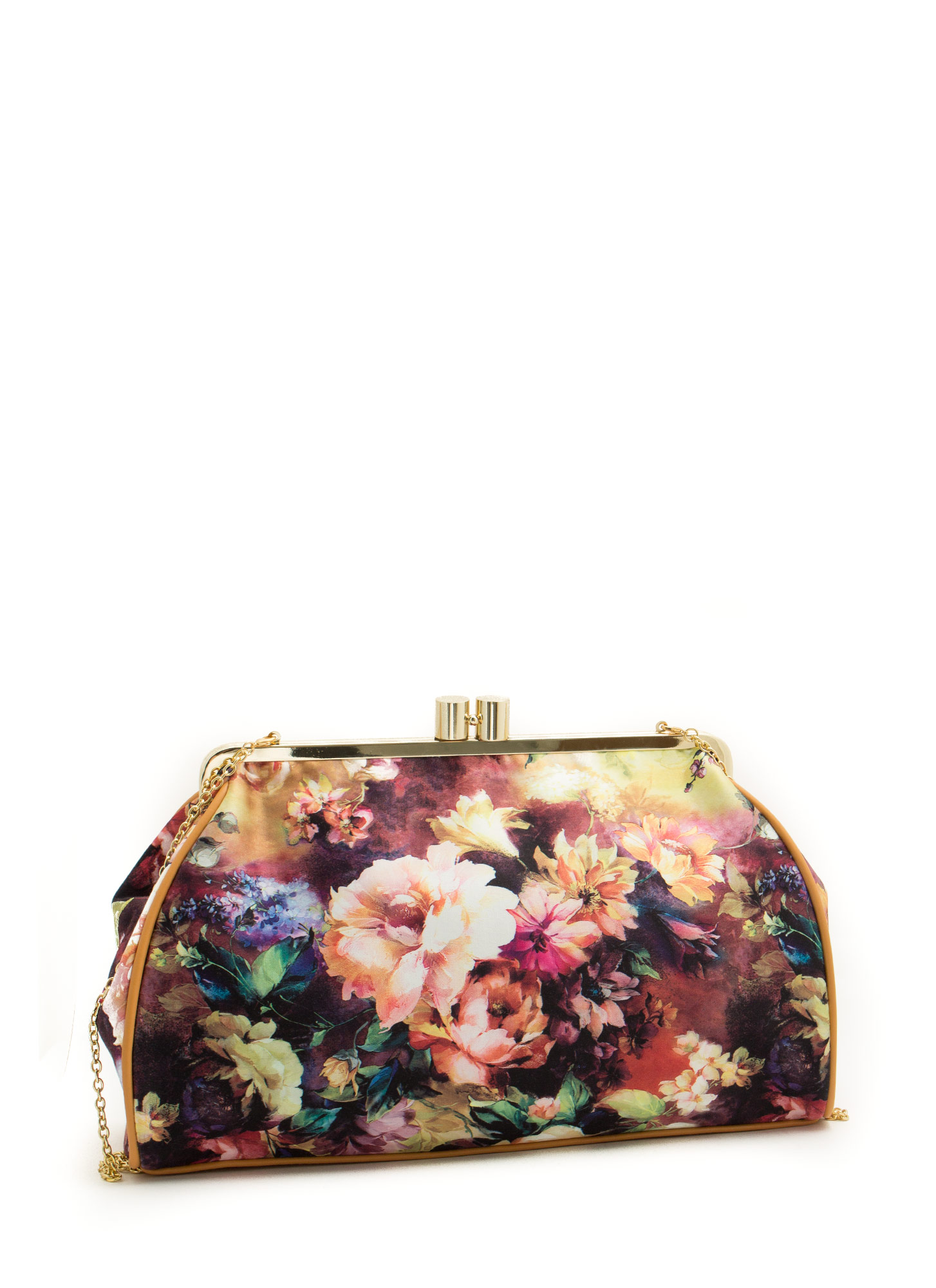 Oversized Floral Print Clutch BLACKMULTI