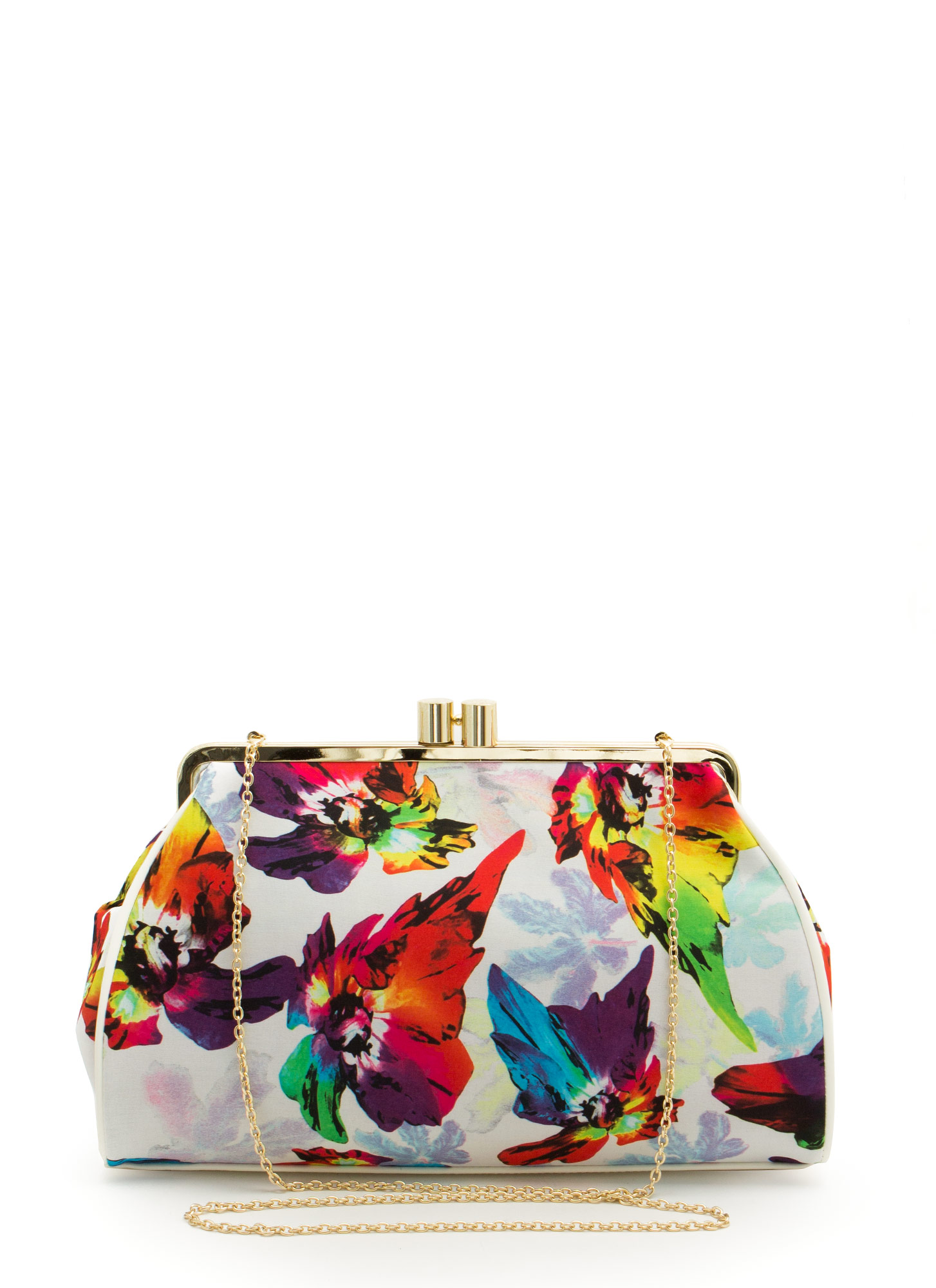 Oversized Floral Print Clutch WHITEMULTI