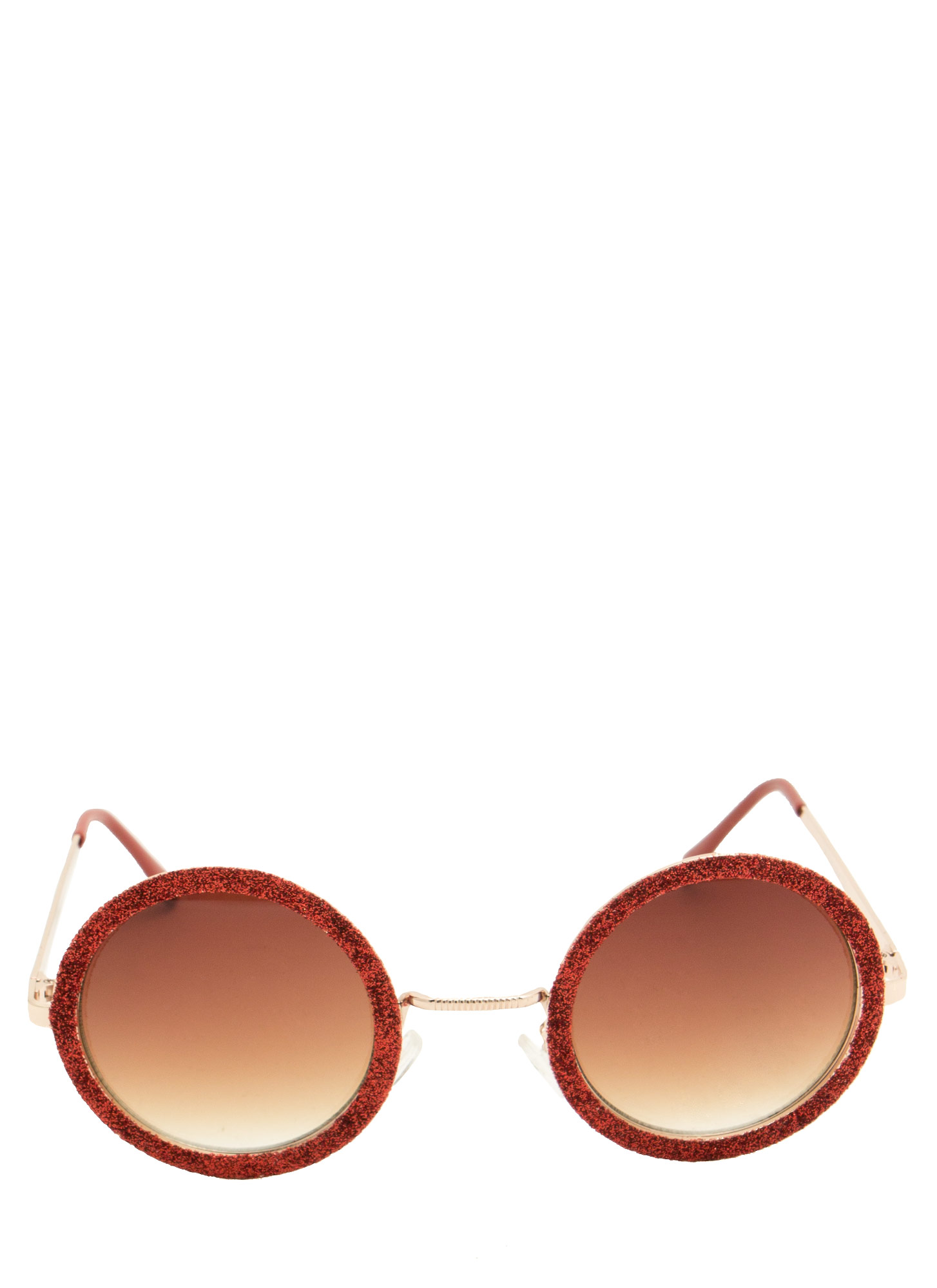 Glitzy Round Sunglasses RED