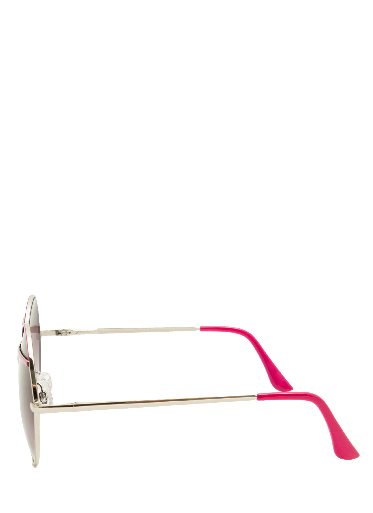 Bar Topped Round Sunglasses FUCHSIA