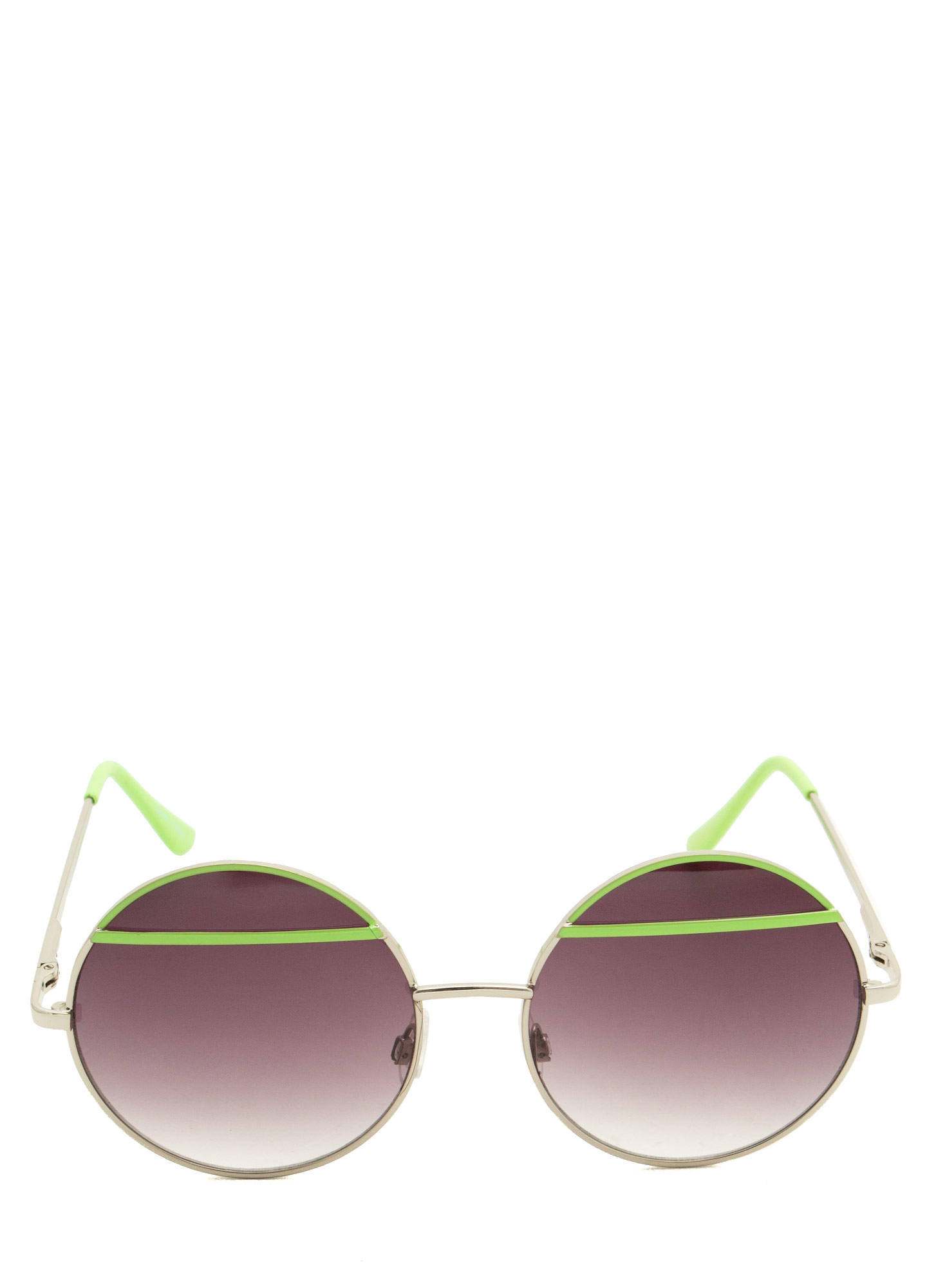 Bar Topped Round Sunglasses GREEN