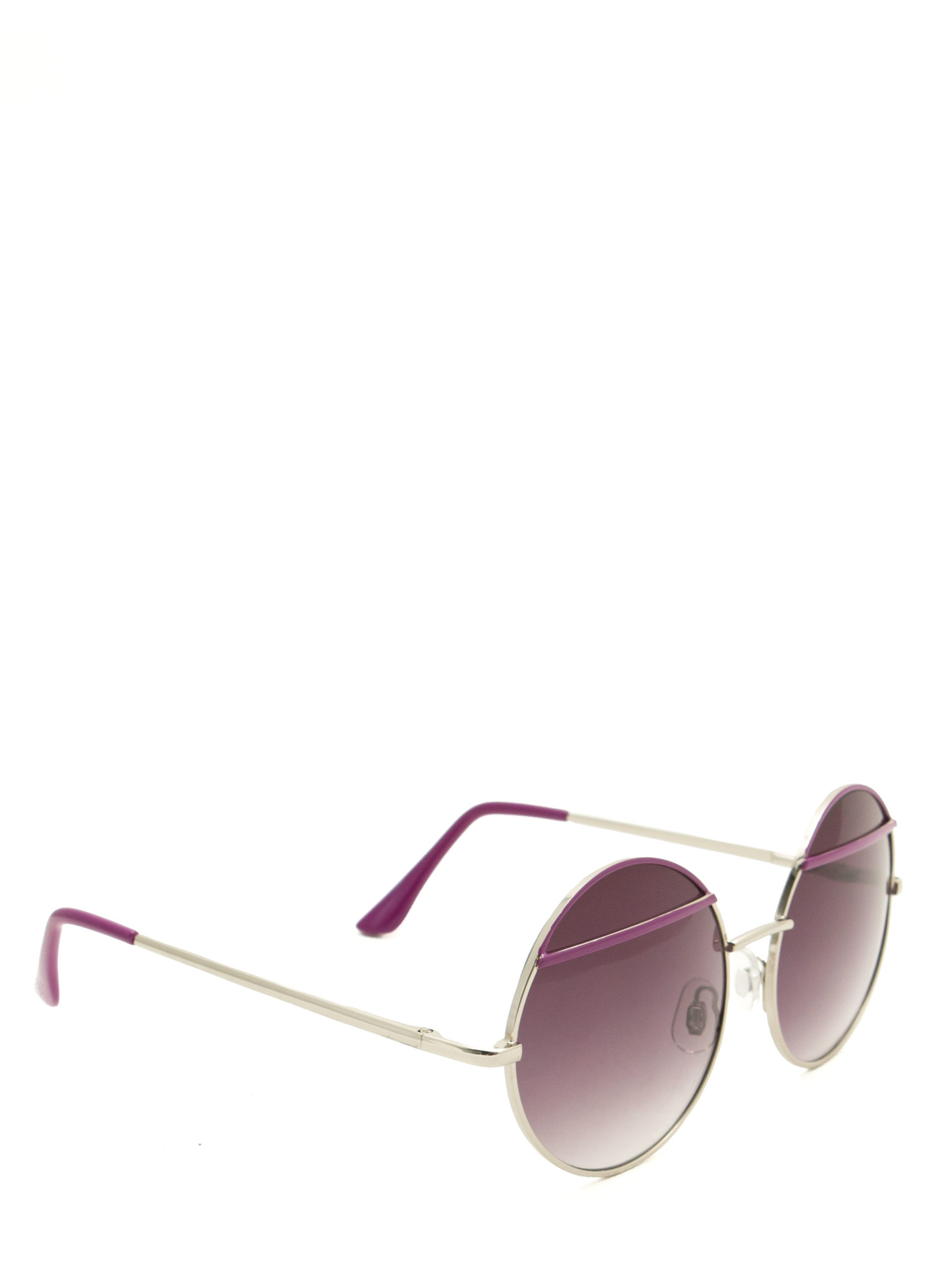Bar Topped Round Sunglasses PURPLE