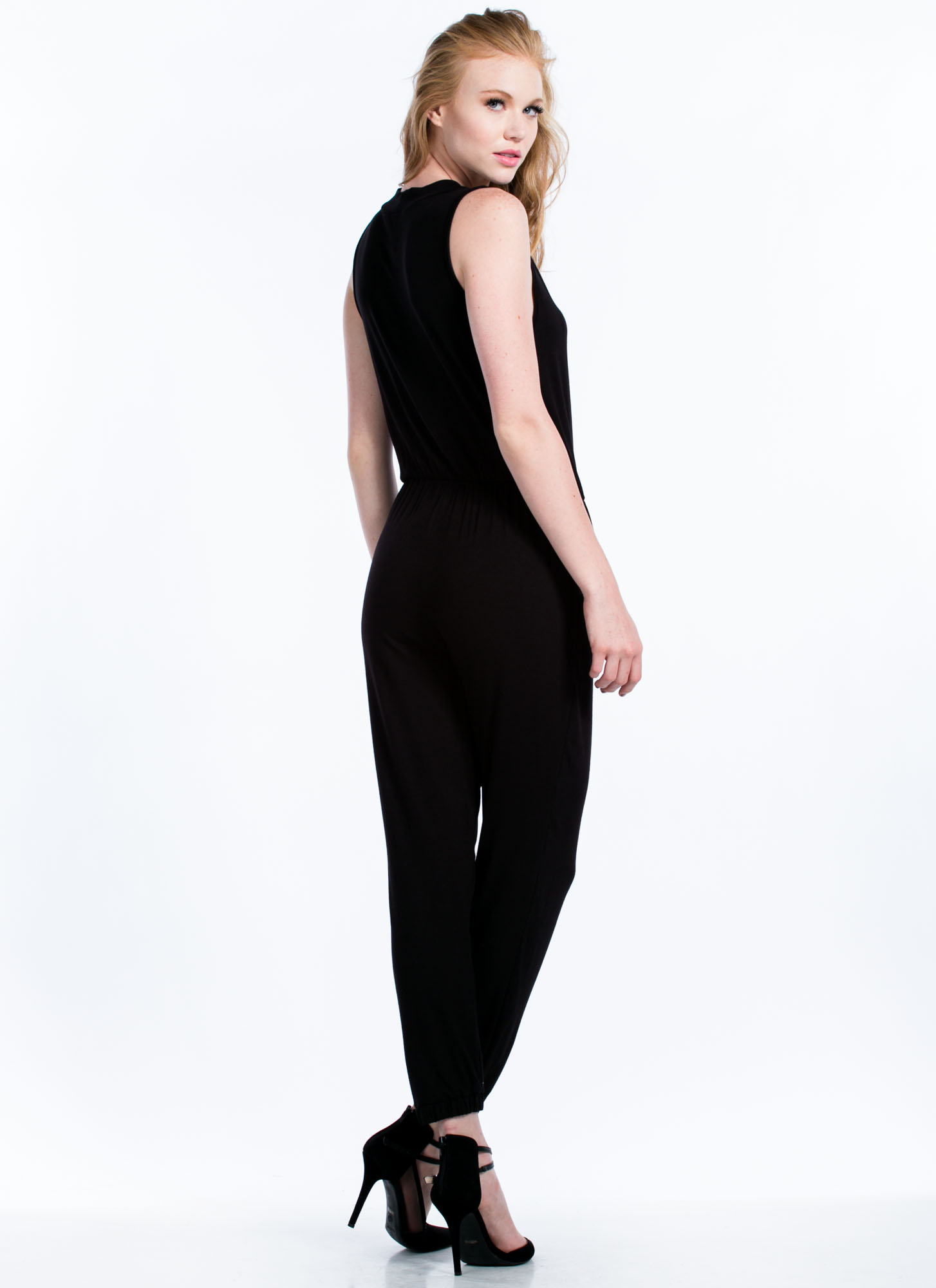 Basic Surplice Jumpsuit BLACK