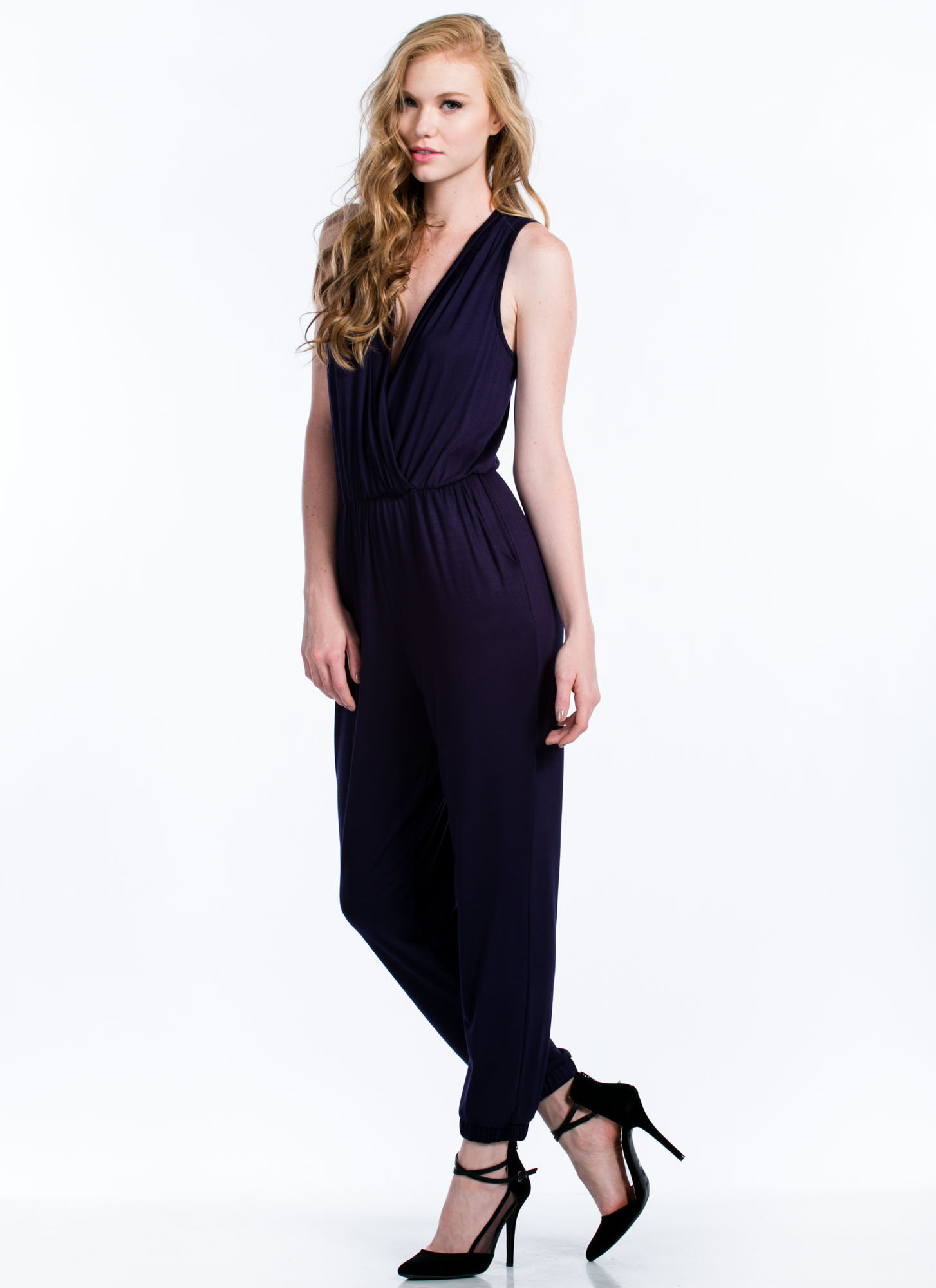 Basic Surplice Jumpsuit NAVY