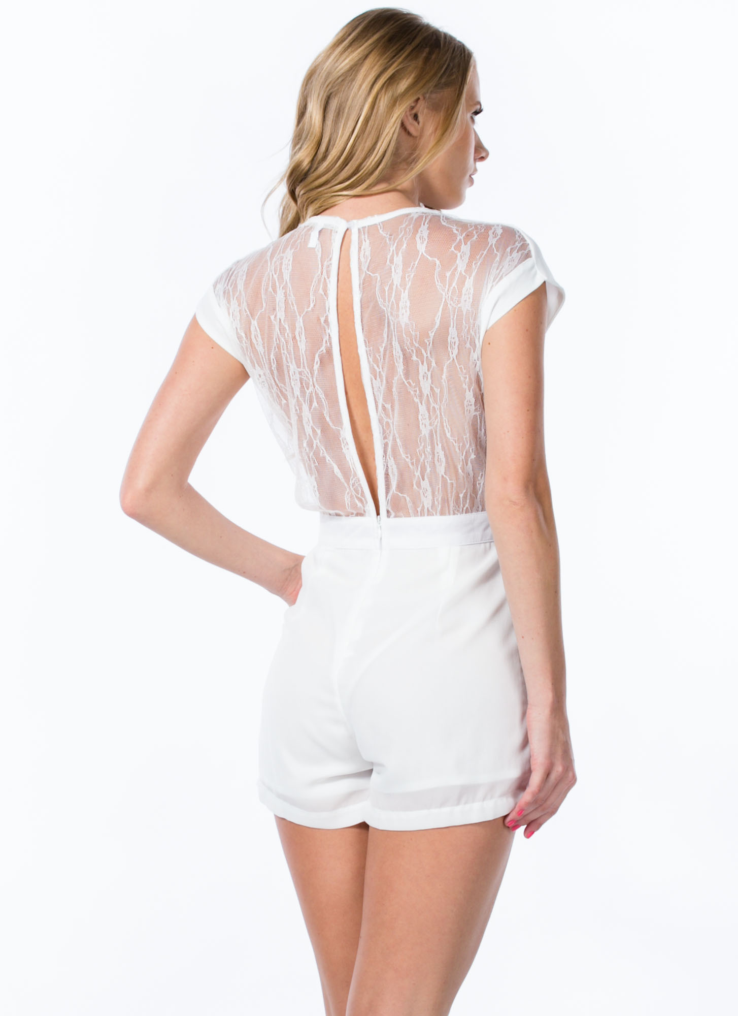 Laced With Luxe Romper WHITE
