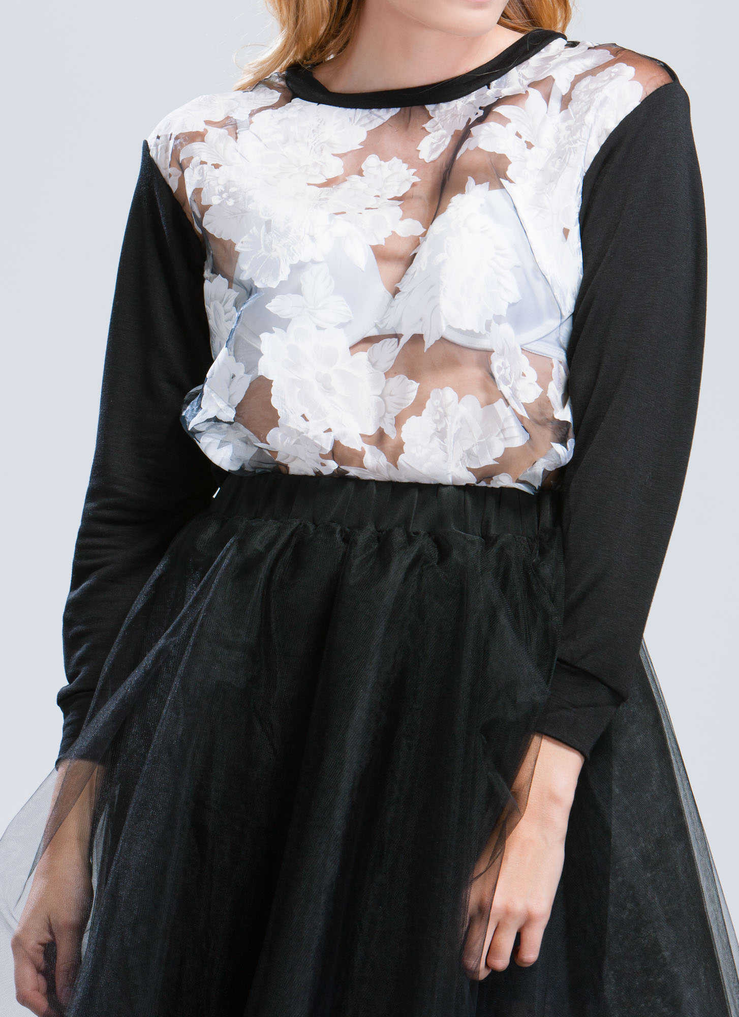 Rose Print Organza Sweatshirt BLACK