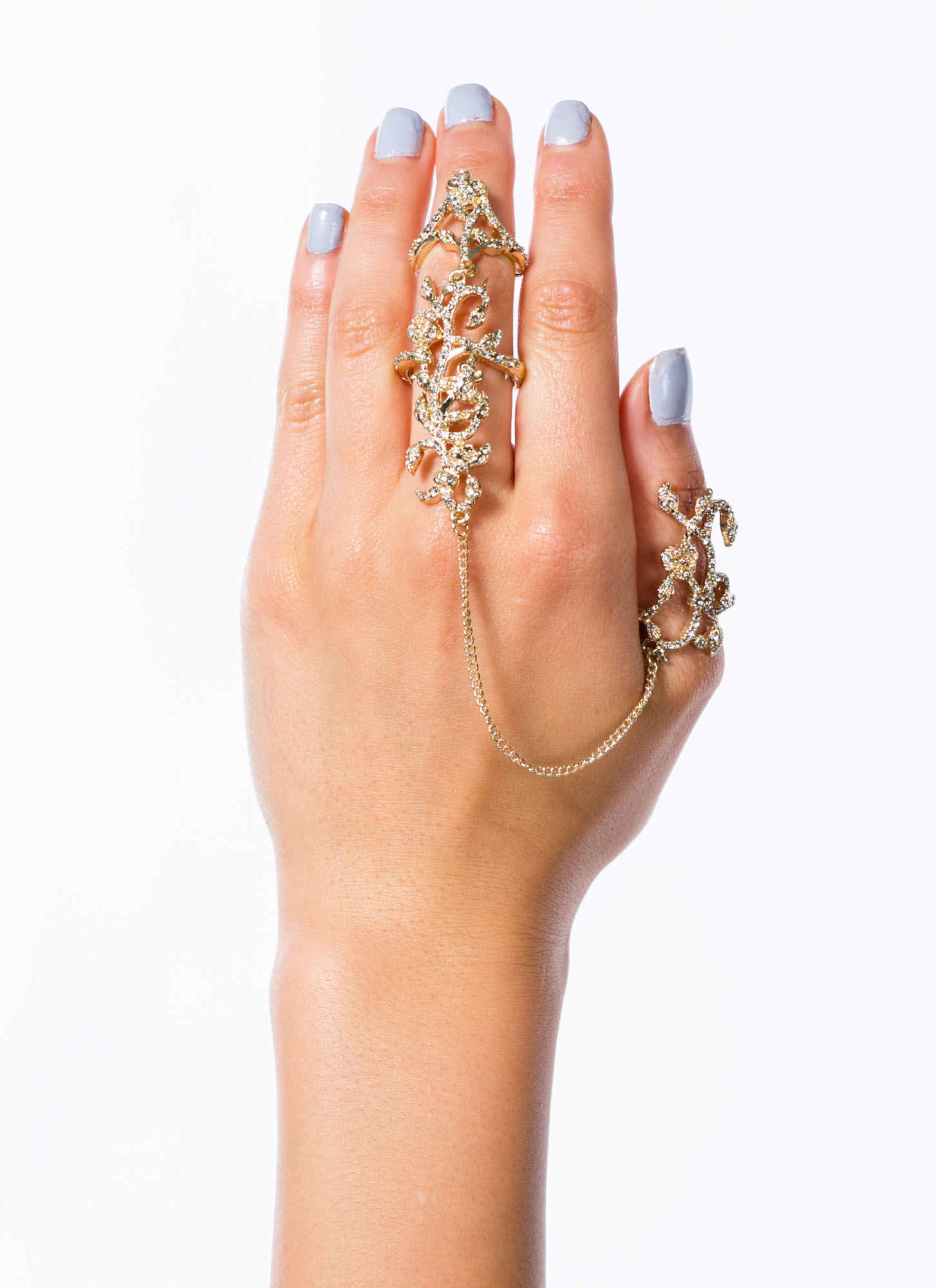 Rhinestone Filigree Ring Duo GOLD