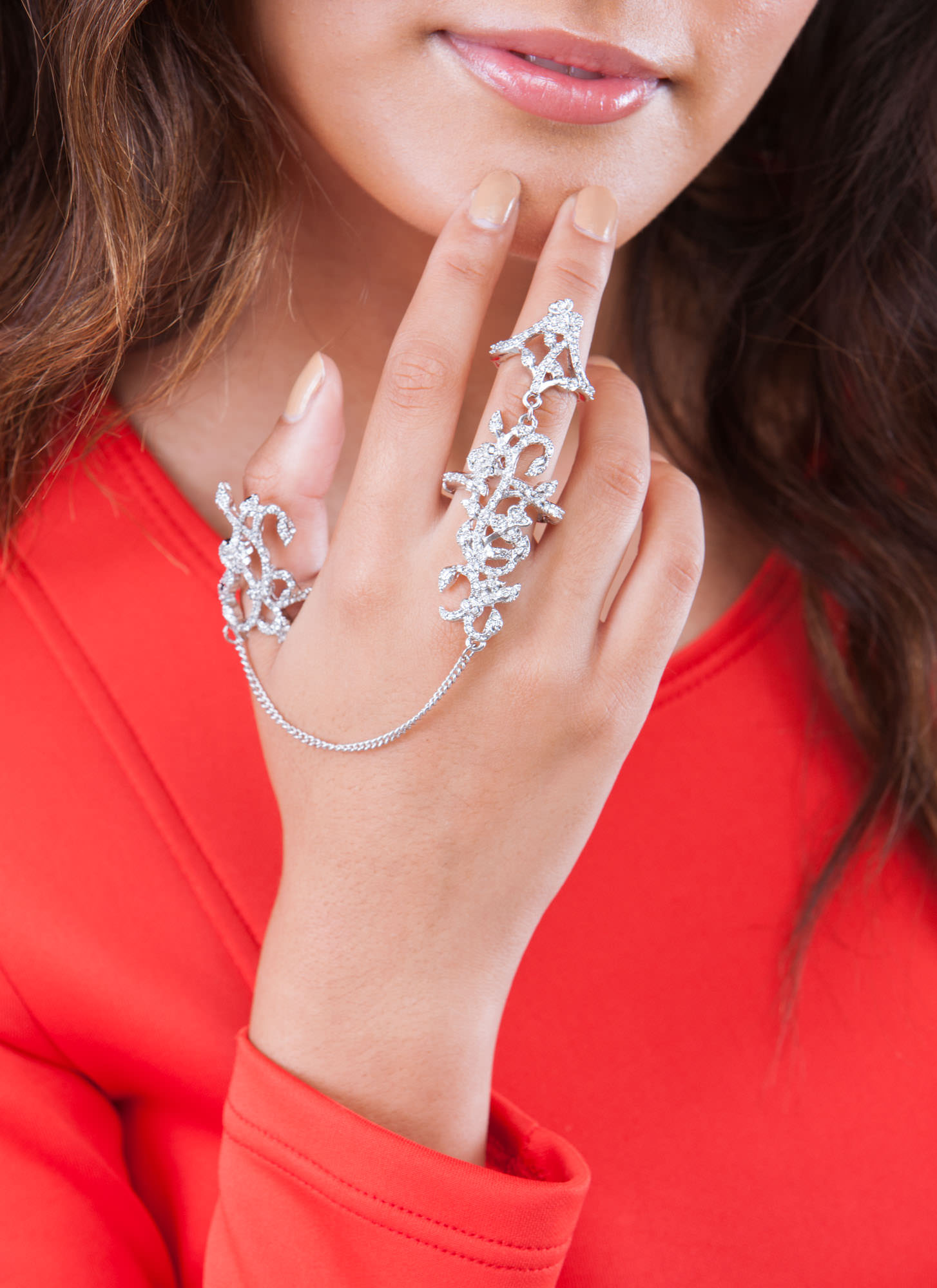 Rhinestone Filigree Ring Duo SILVER
