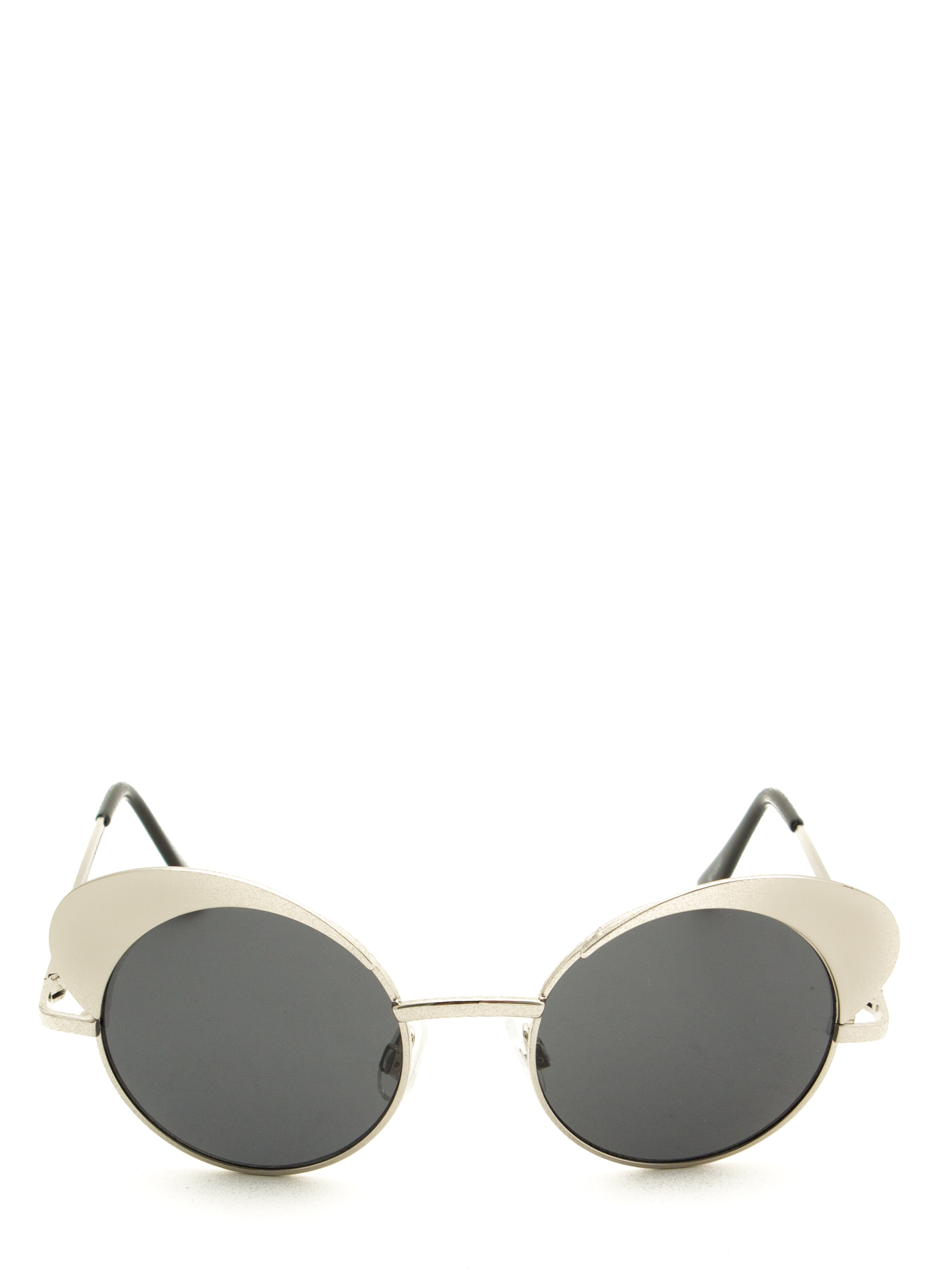 All Curves Rounded Cat Eye Sunglasses SILVER