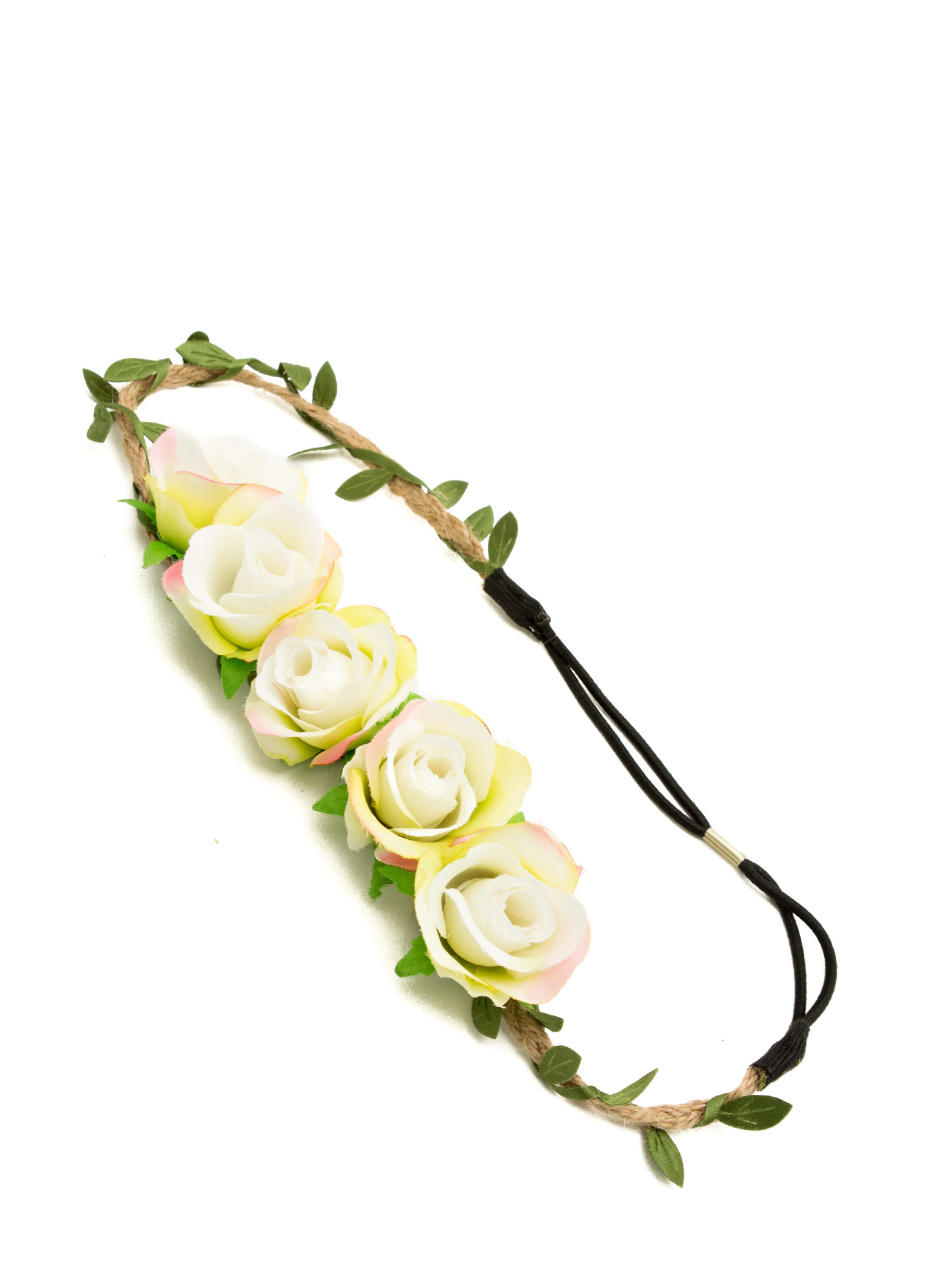Row Of Roses Braided Hemp Headband IVORY