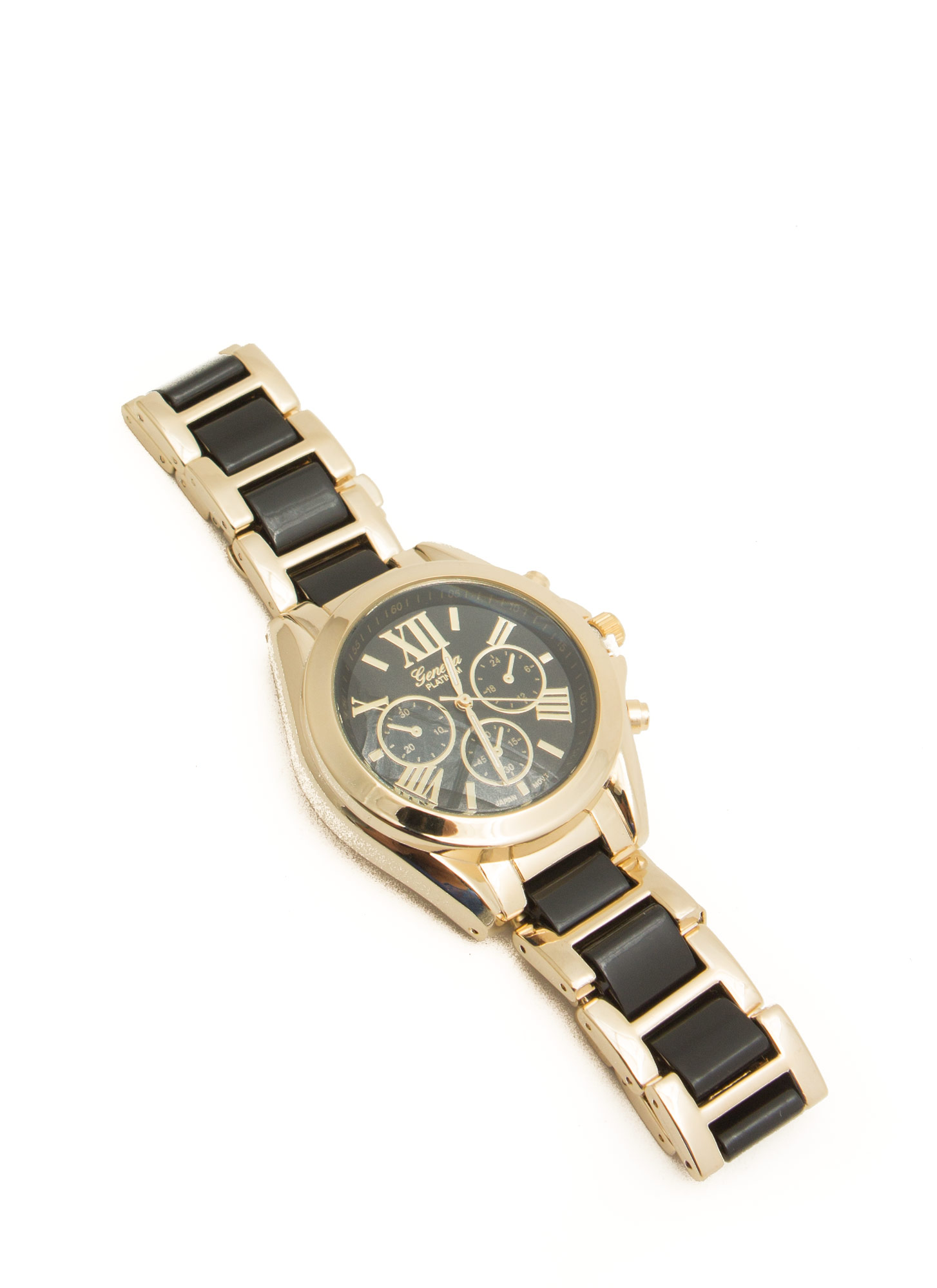 Tiled Roman Numeral Boyfriend Watch BLACKGOLD