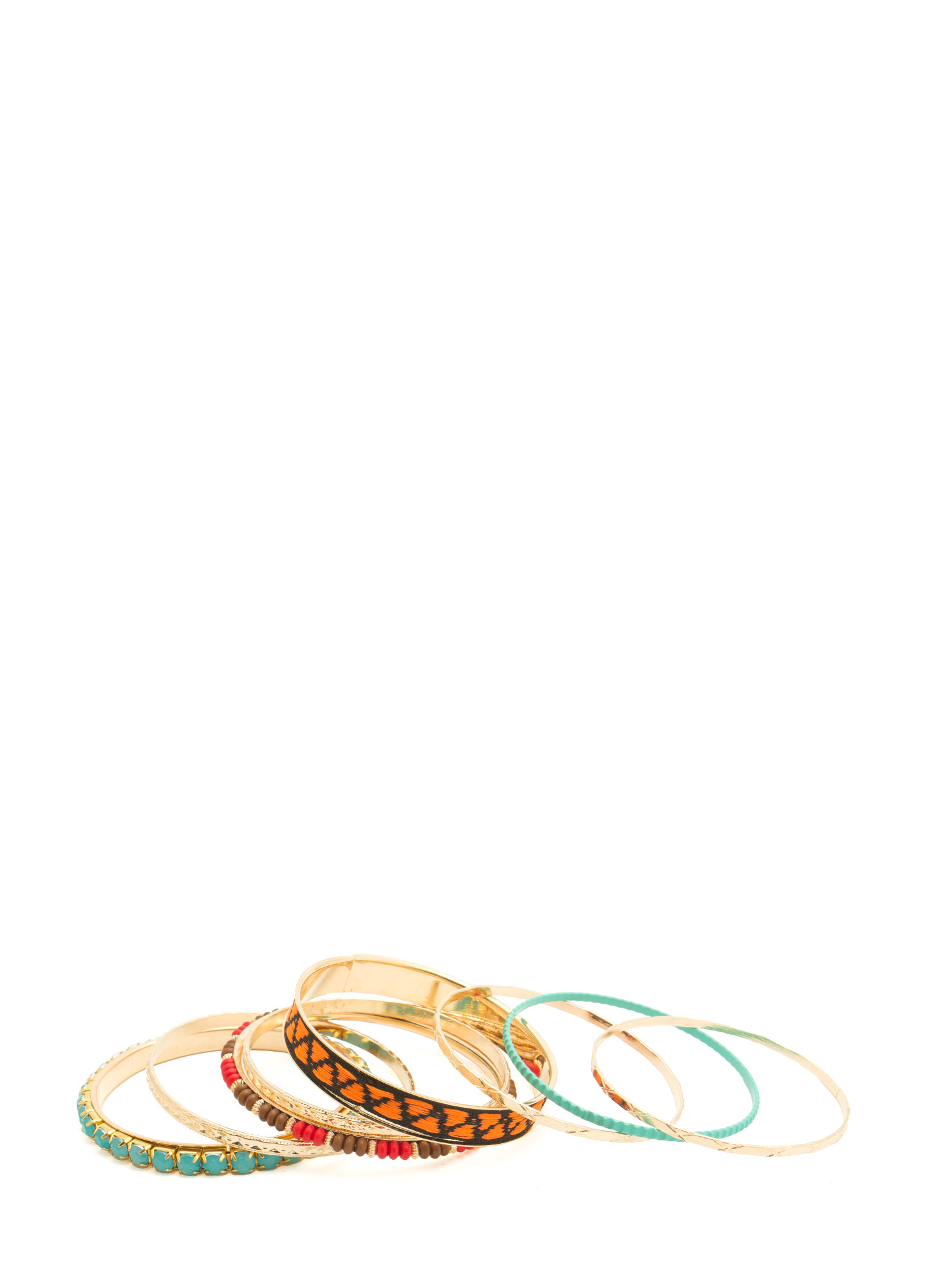 Tribal-Inspired Eight-Piece Bangle Set GOLDMULTI