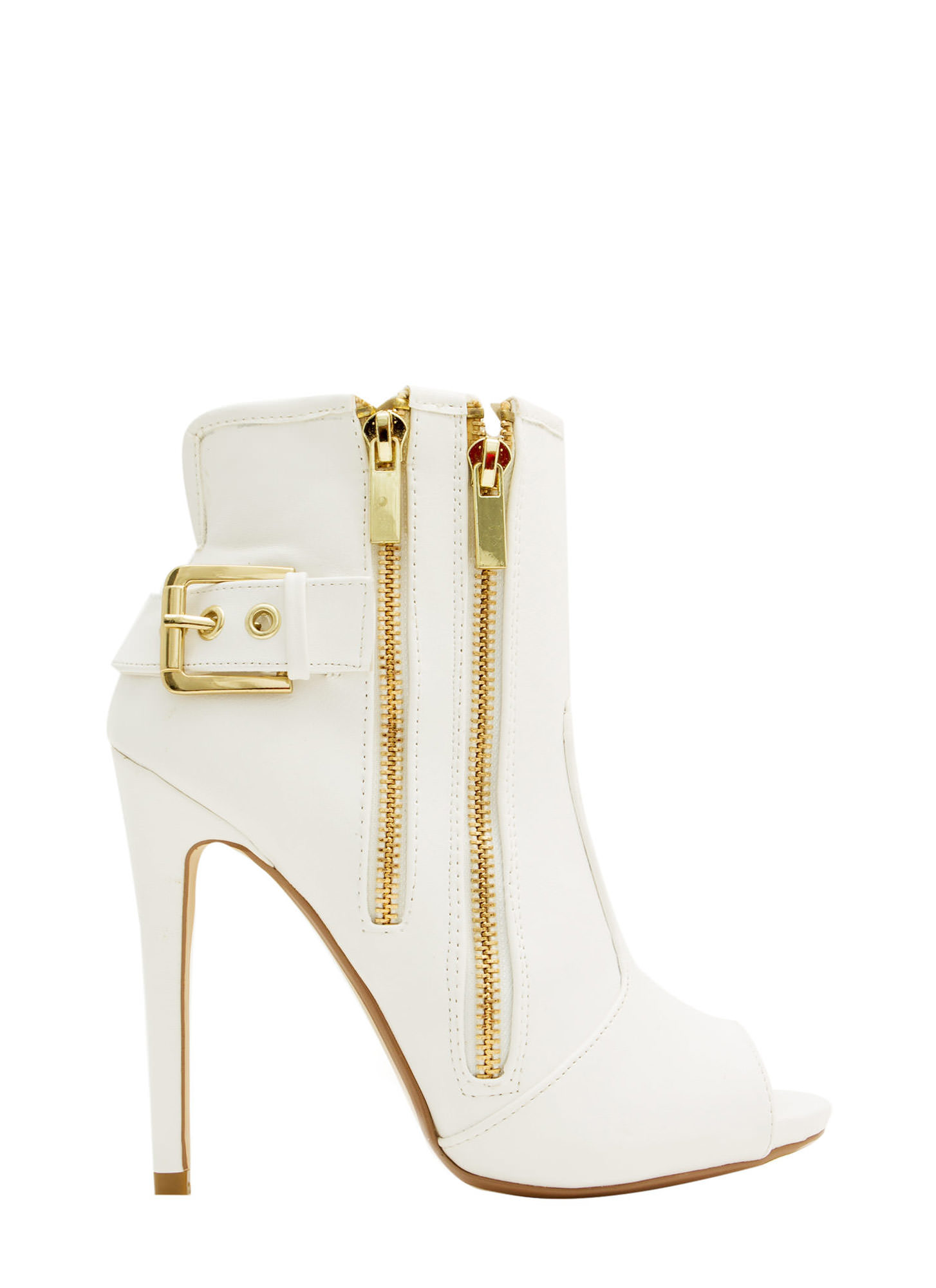 Double Zip Peep-Toe Booties WHITE