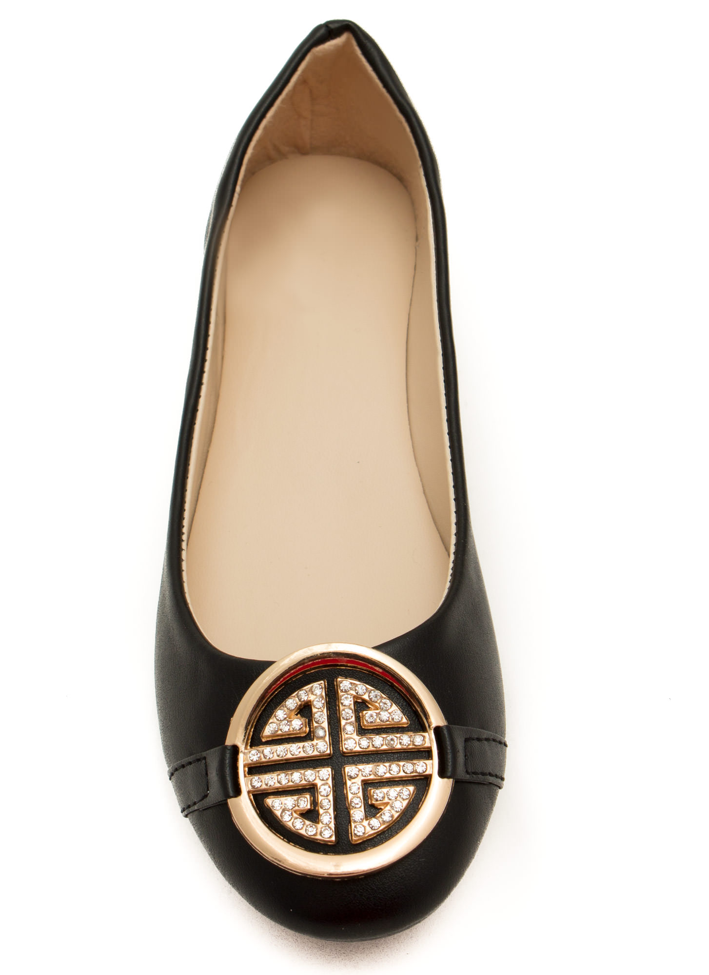 Medal Contender Faux Leather Flats BLACK