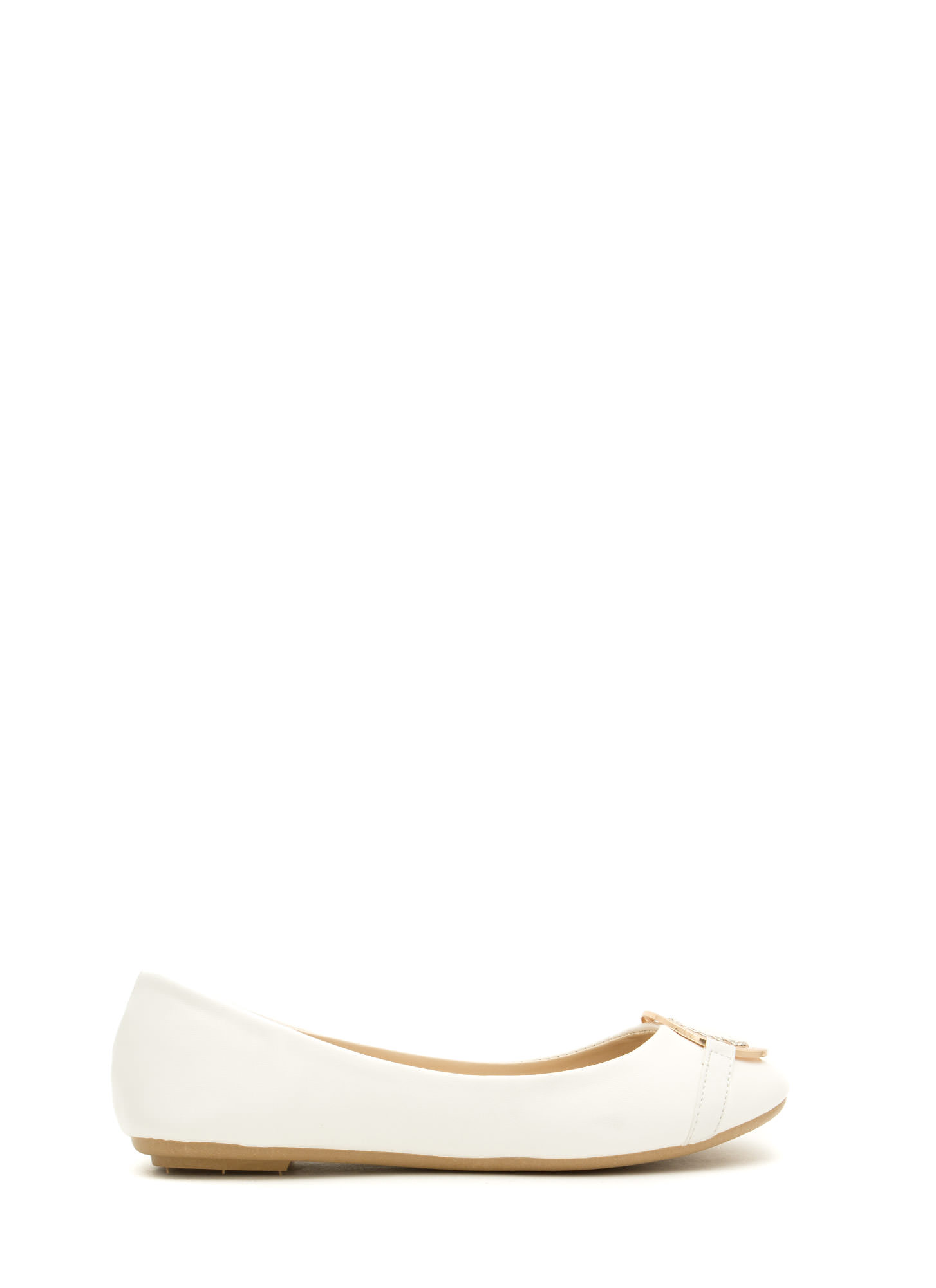Medal Contender Faux Leather Flats WHITE