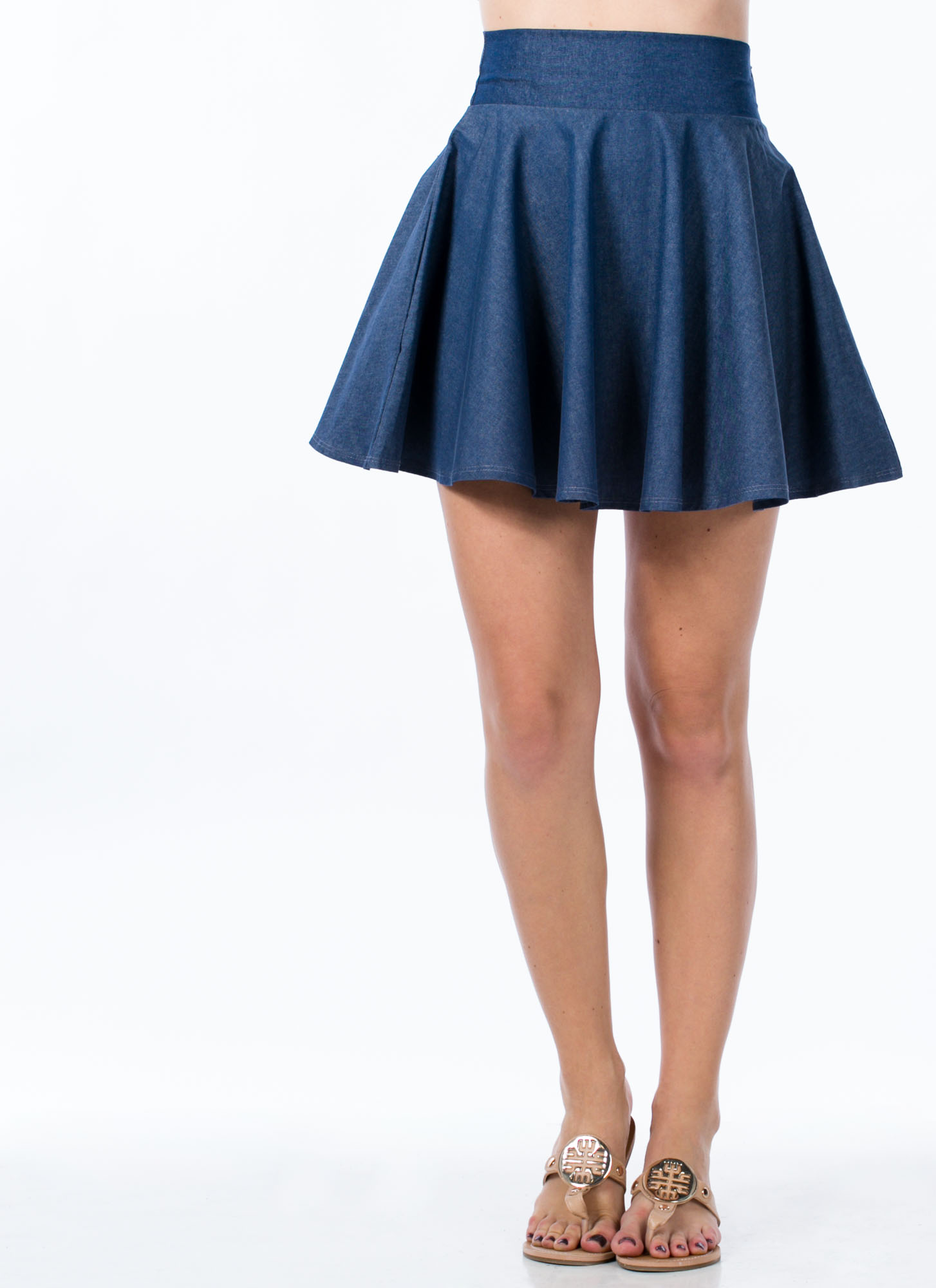Chambray Skater Skirt DKBLUE