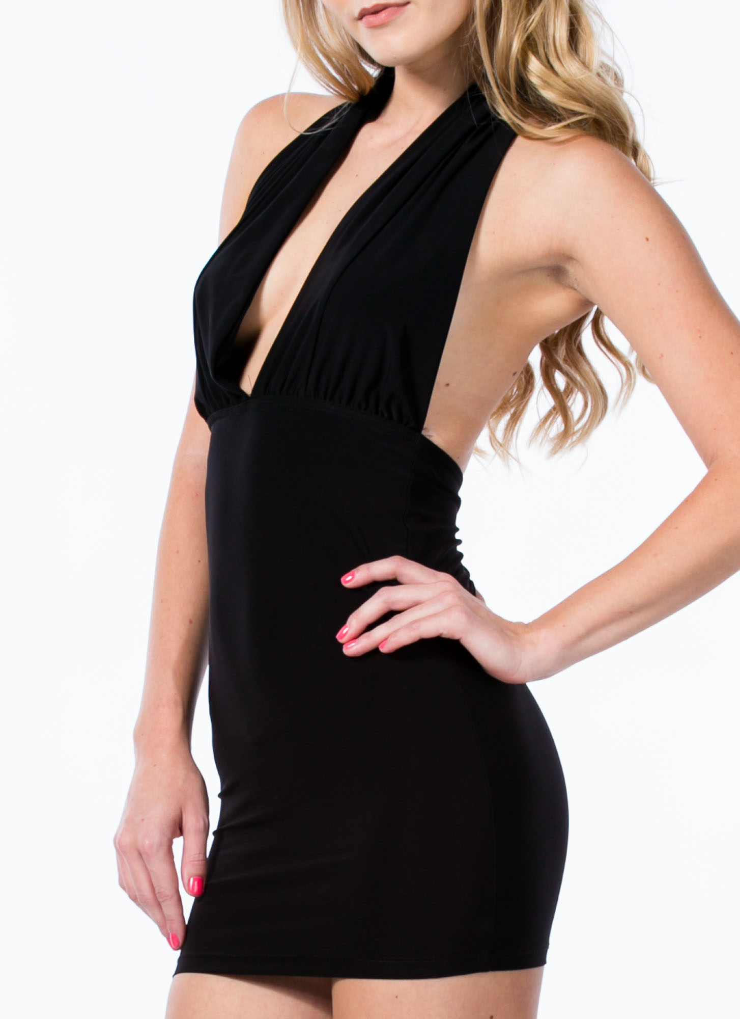 Come To A Halter Plunging Minidress BLACK