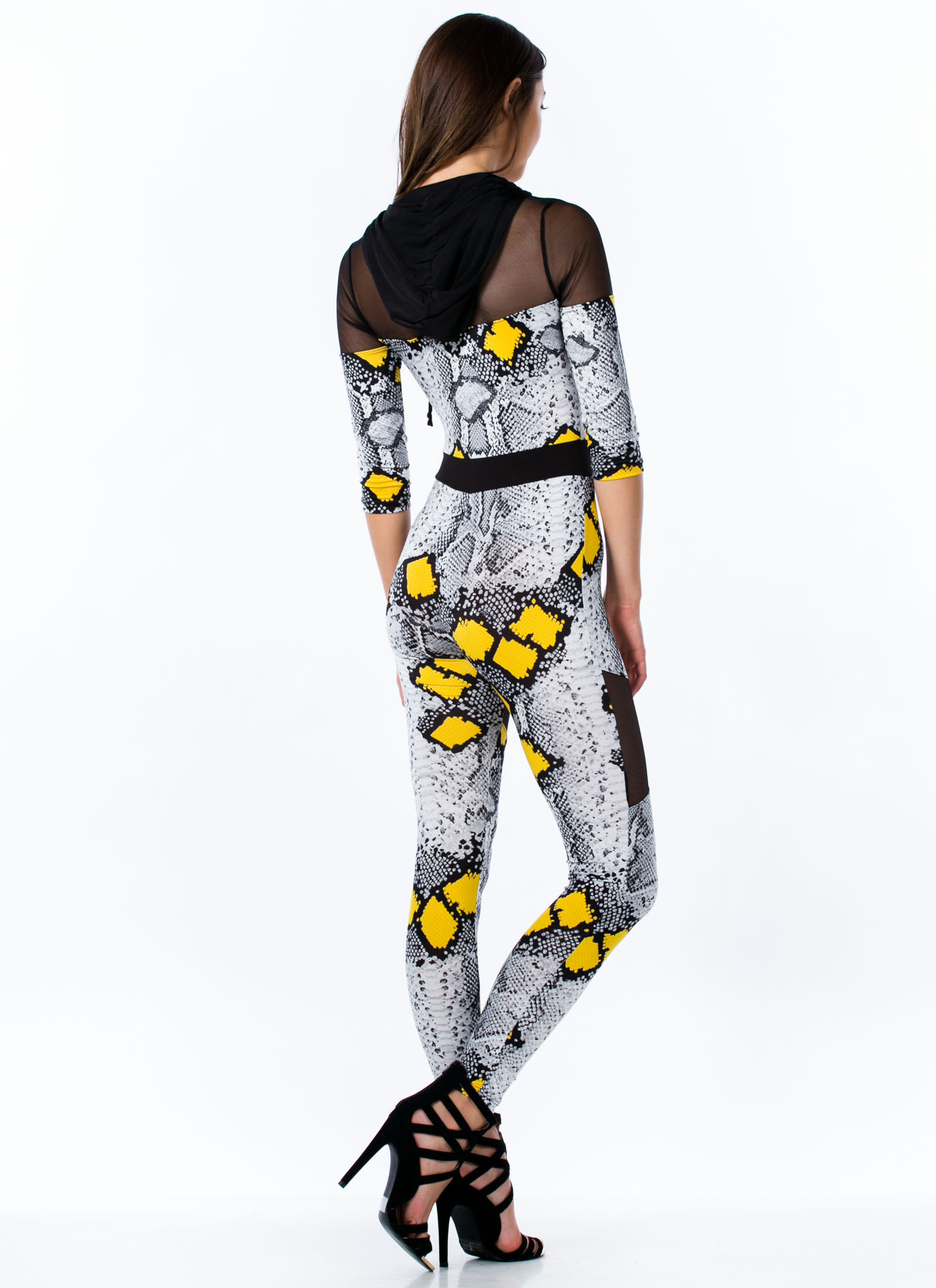 Hooded Mesh Inset Snakeskin Jumpsuit BLACK