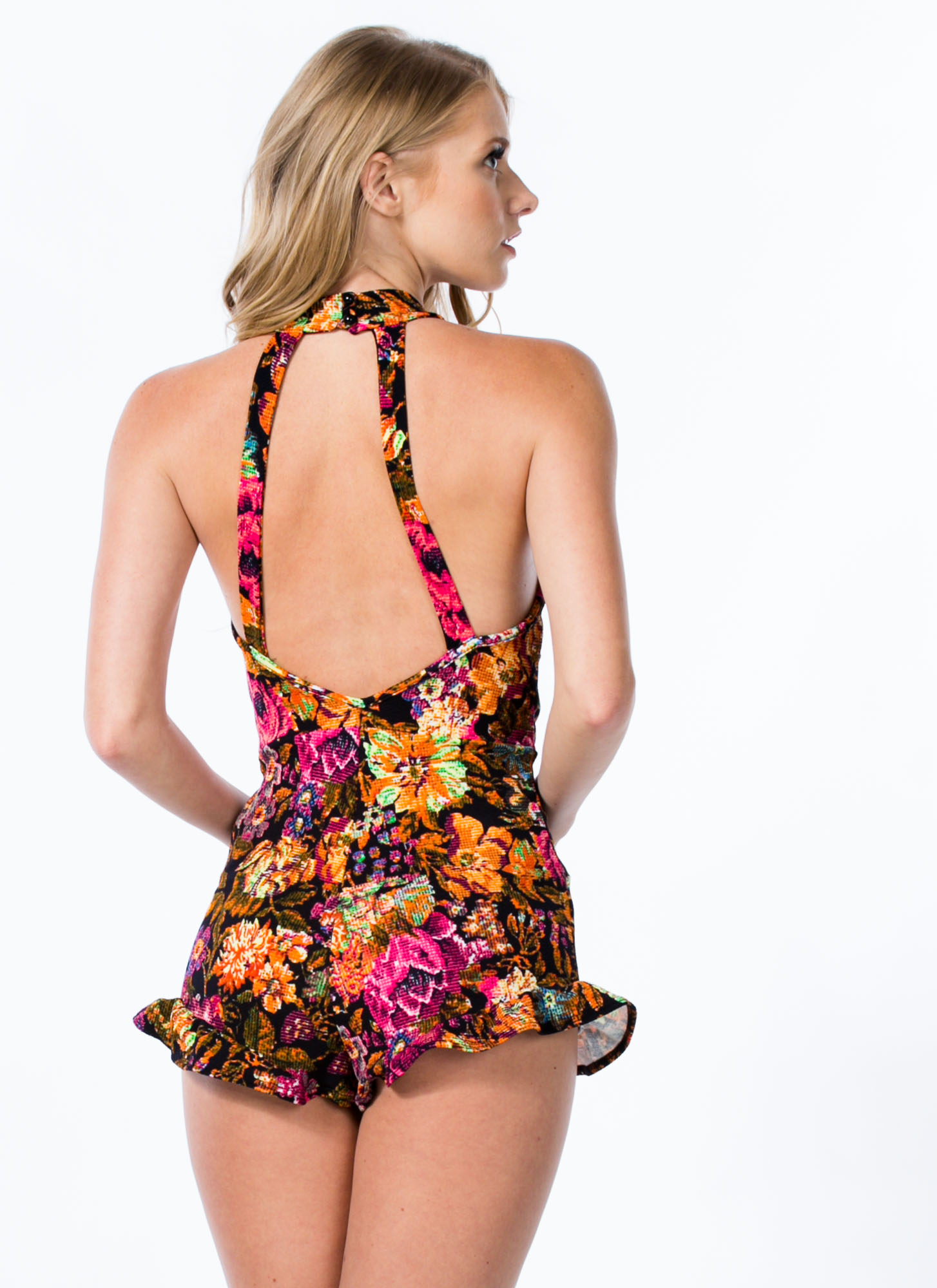 Pixelated Floral Ruffled Romper BLACKPINK