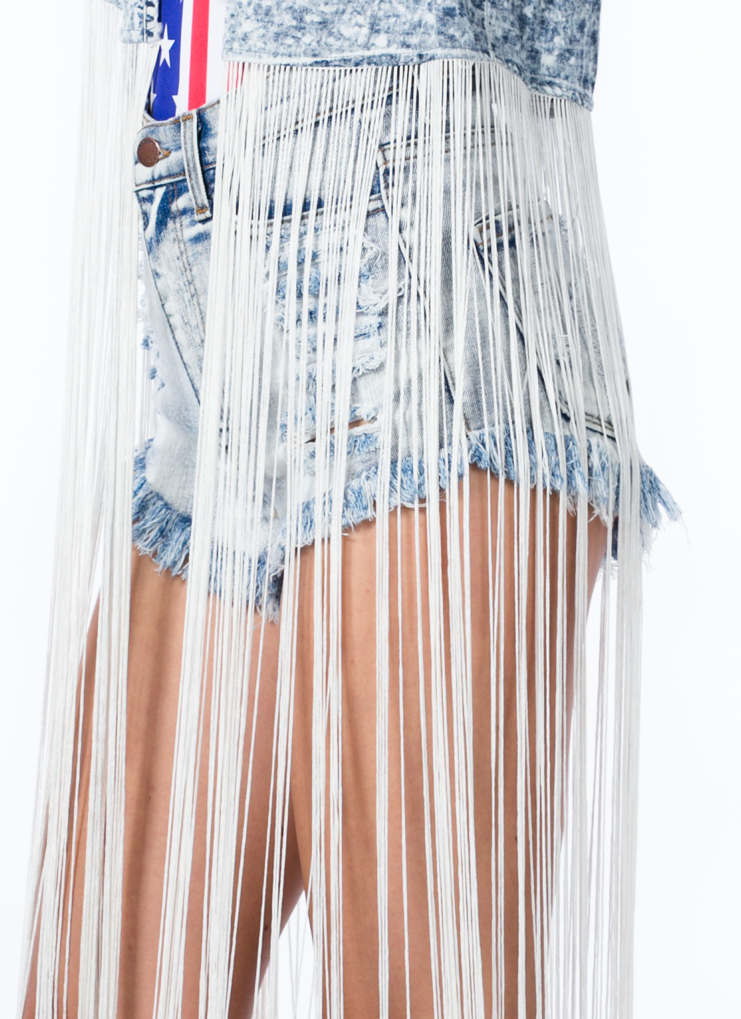 Fringe With Benefits Acid Wash Vest BLUE
