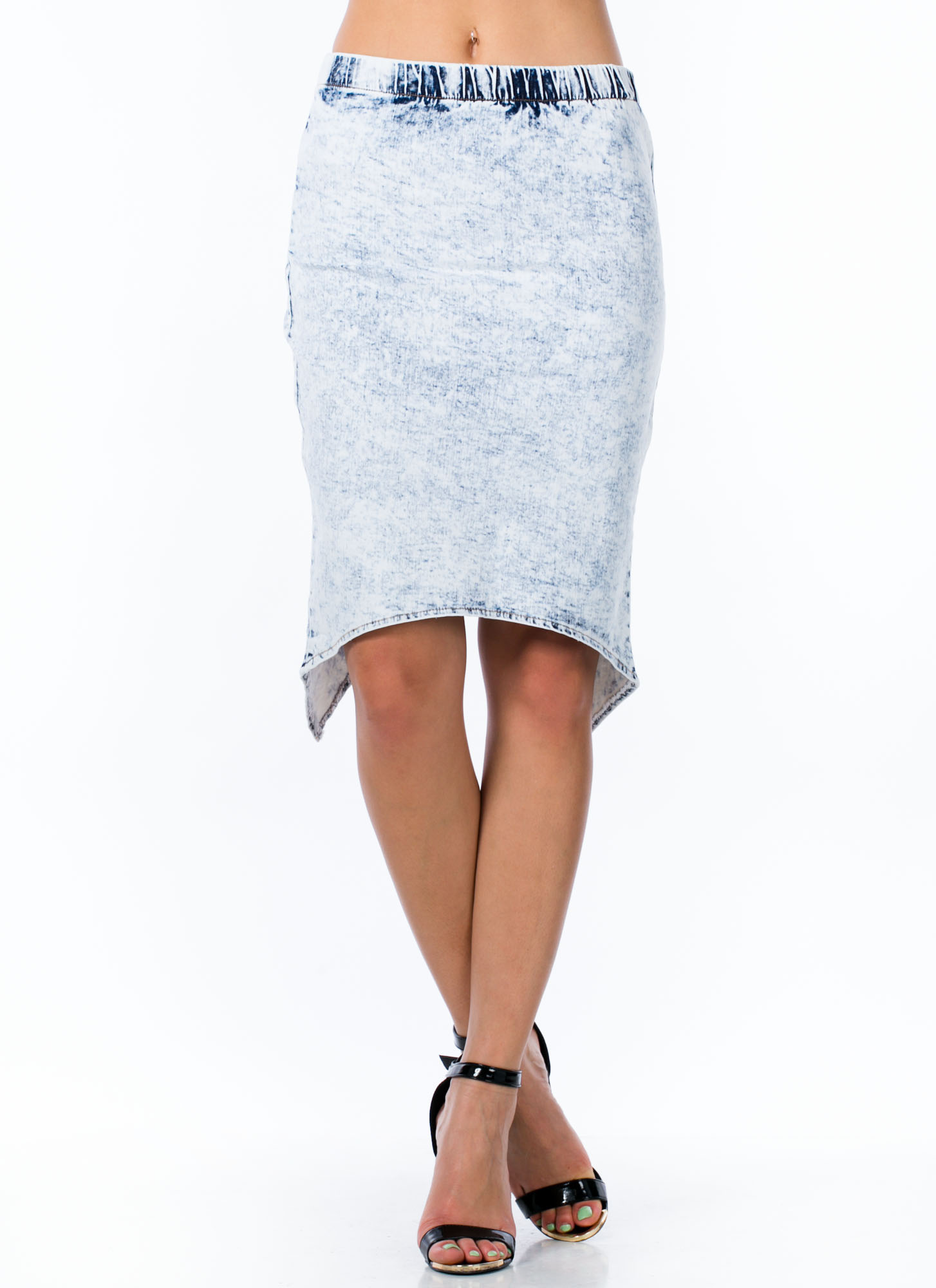 Acid Washed Up Surplice Back Skirt LTBLUE